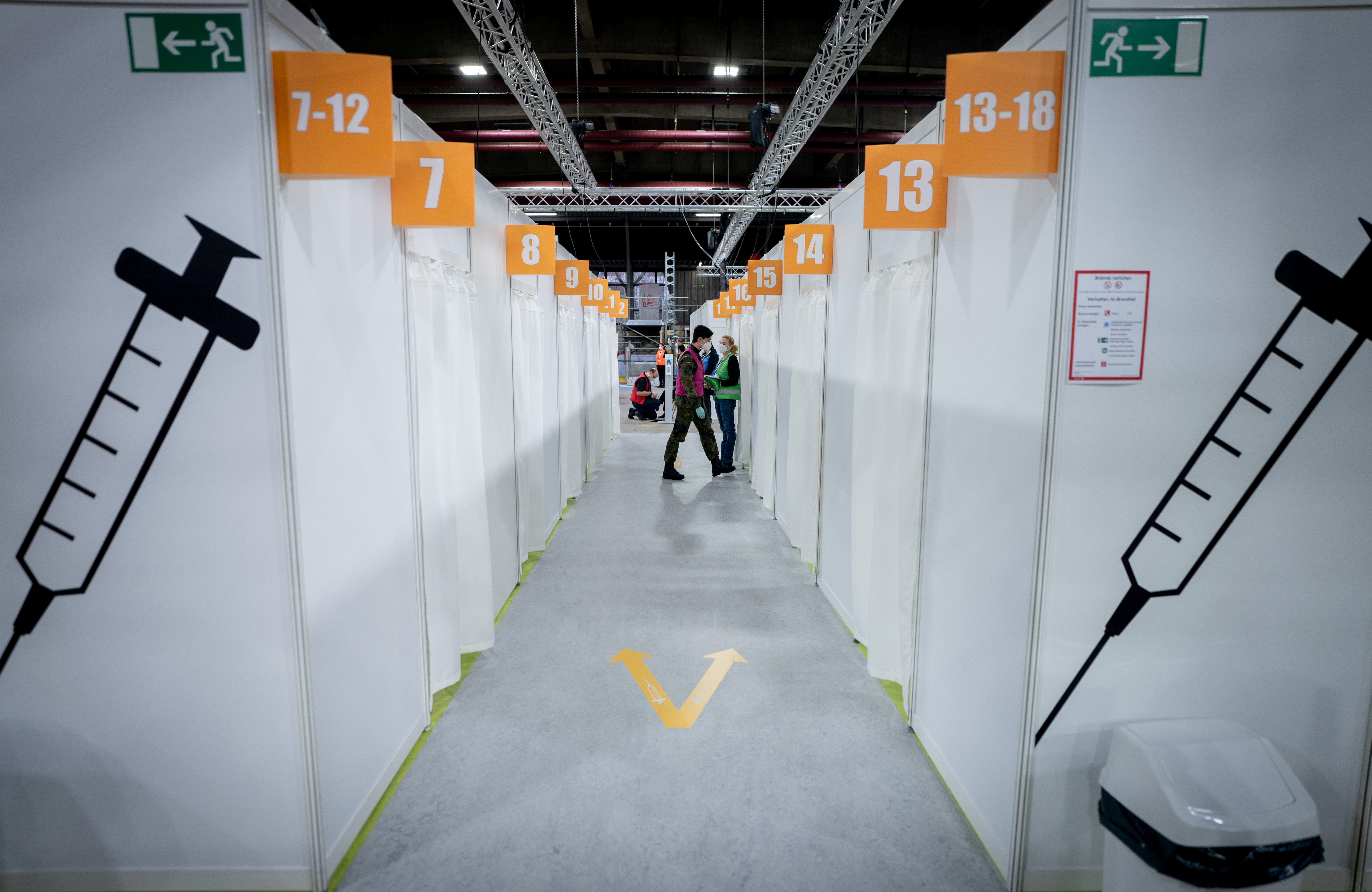 Cabins at a vaccination centre set up in the Erika-Hess ice stadium to fight the coronavirus disease in Berlin, Germany, January 14, 2021. Kay Nietfeld/Pool via REUTERS