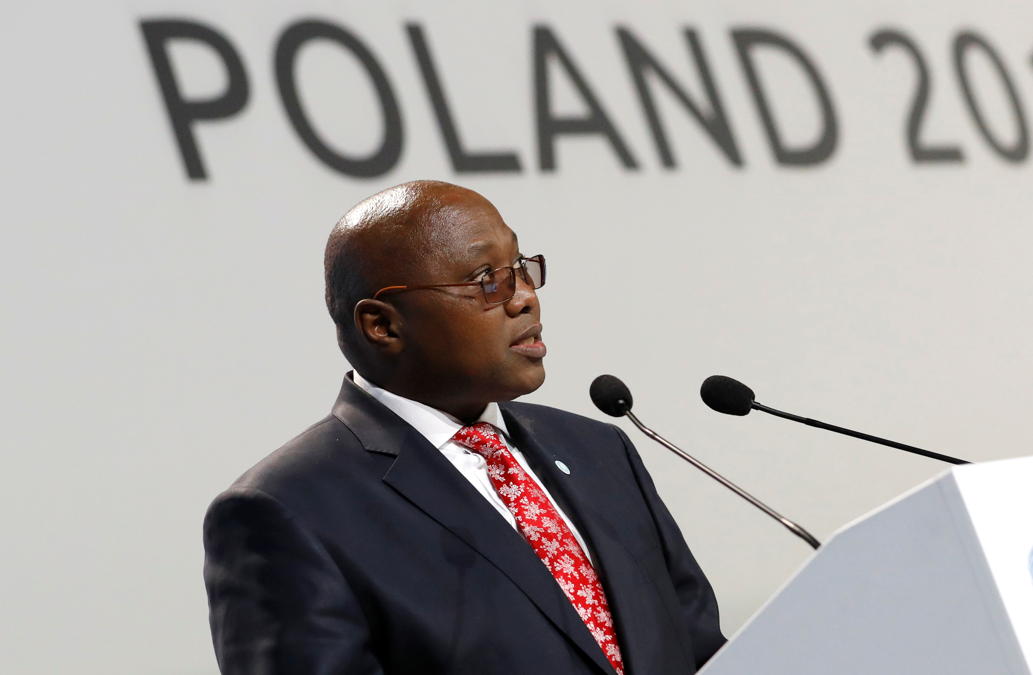 Prime Minister of Eswatini Ambrose Mandvulo Dlamini speaks during the COP24 UN Climate Change Conference 2018 in Katowice, Poland December 3, 2018. REUTERS/Kacper Pempel