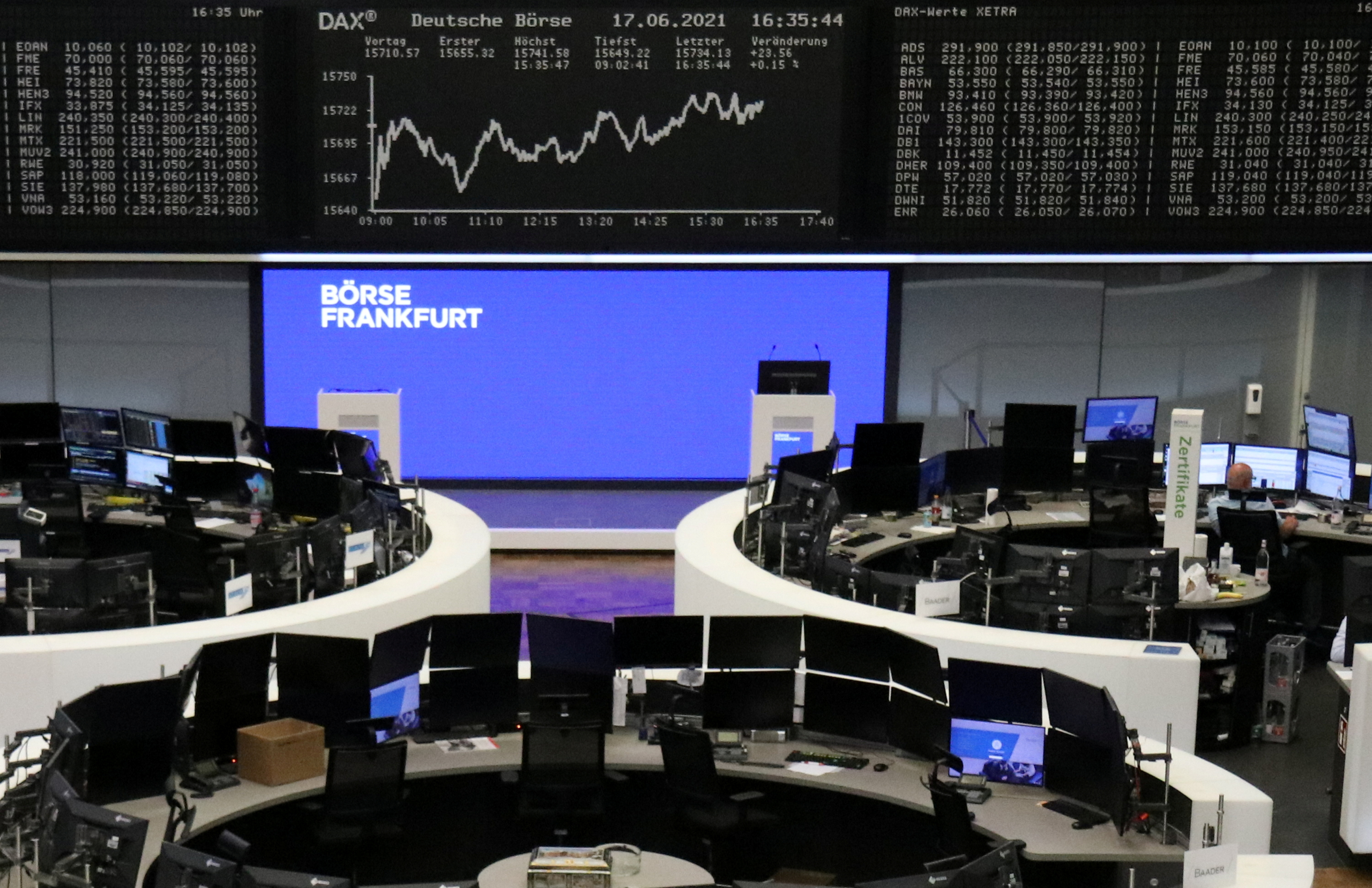 The German share price index DAX graph is pictured at the stock exchange in Frankfurt, Germany, June 17, 2021.    REUTERS/Staff/Files