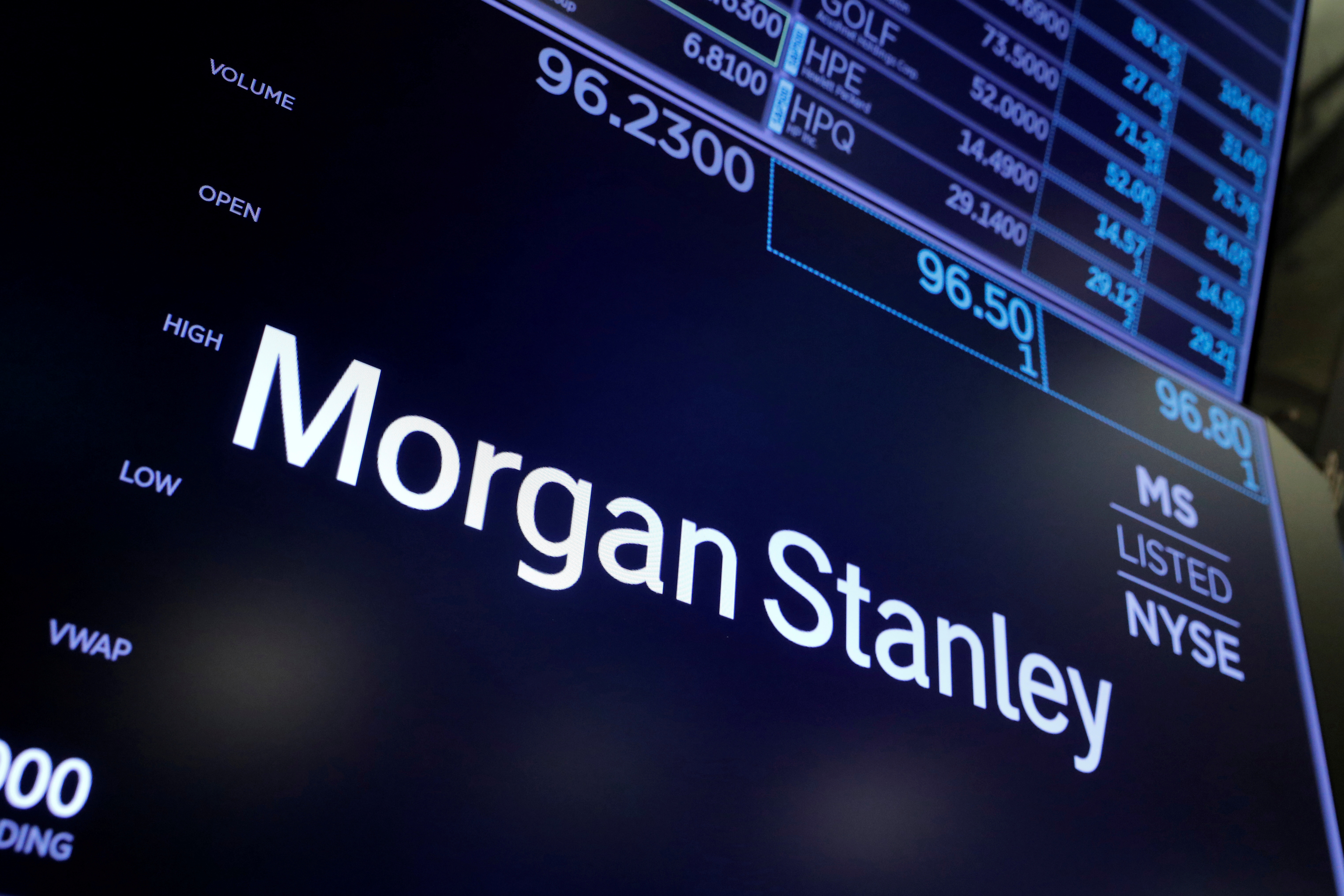 The logo for Morgan Stanley is seen on the trading floor at the New York Stock Exchange (NYSE) in Manhattan, New York City, U.S., August 3, 2021. REUTERS/Andrew Kelly