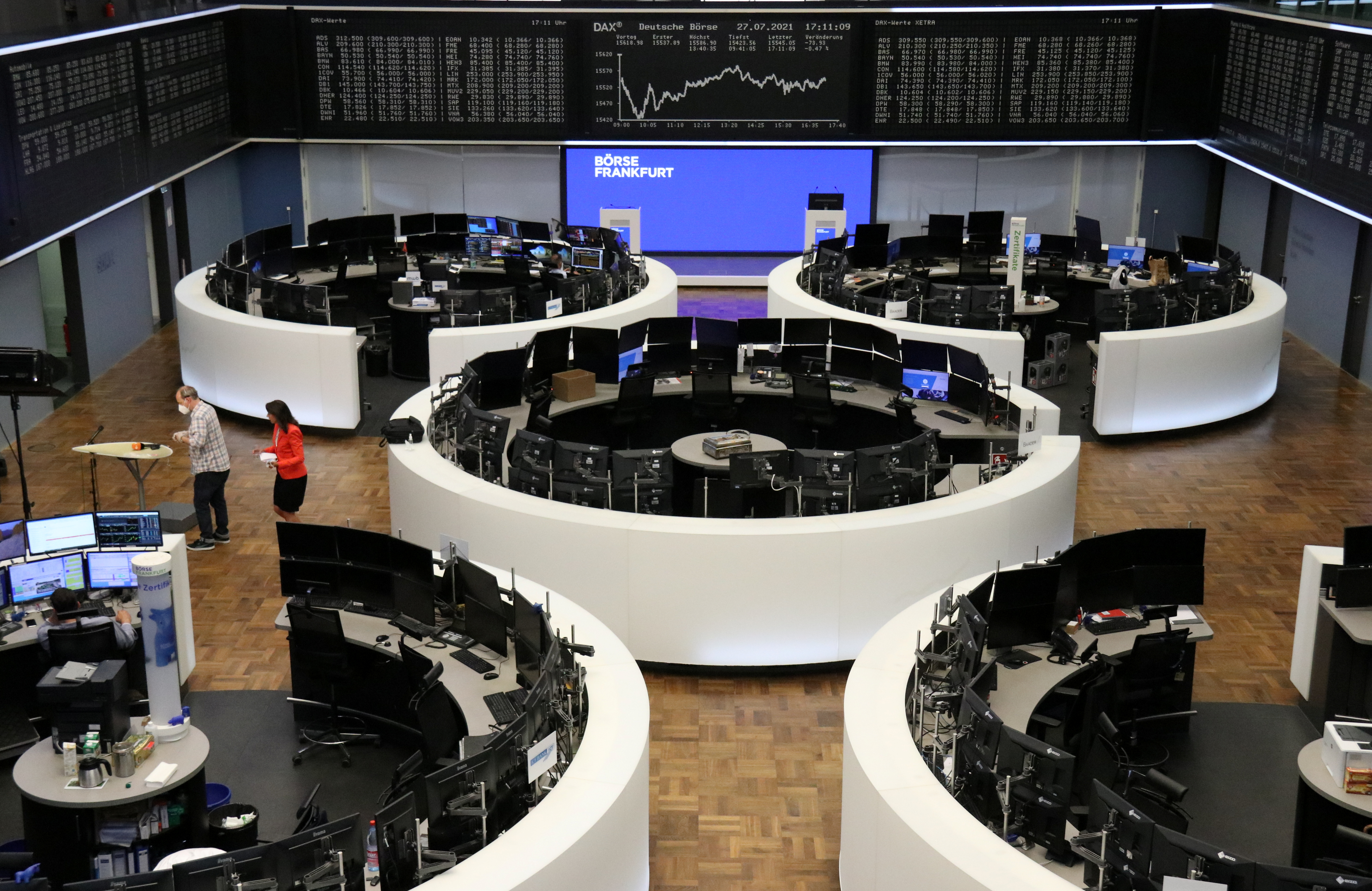 The German share price index DAX graph is pictured at the stock exchange in Frankfurt, Germany, July 27, 2021. REUTERS/Staff