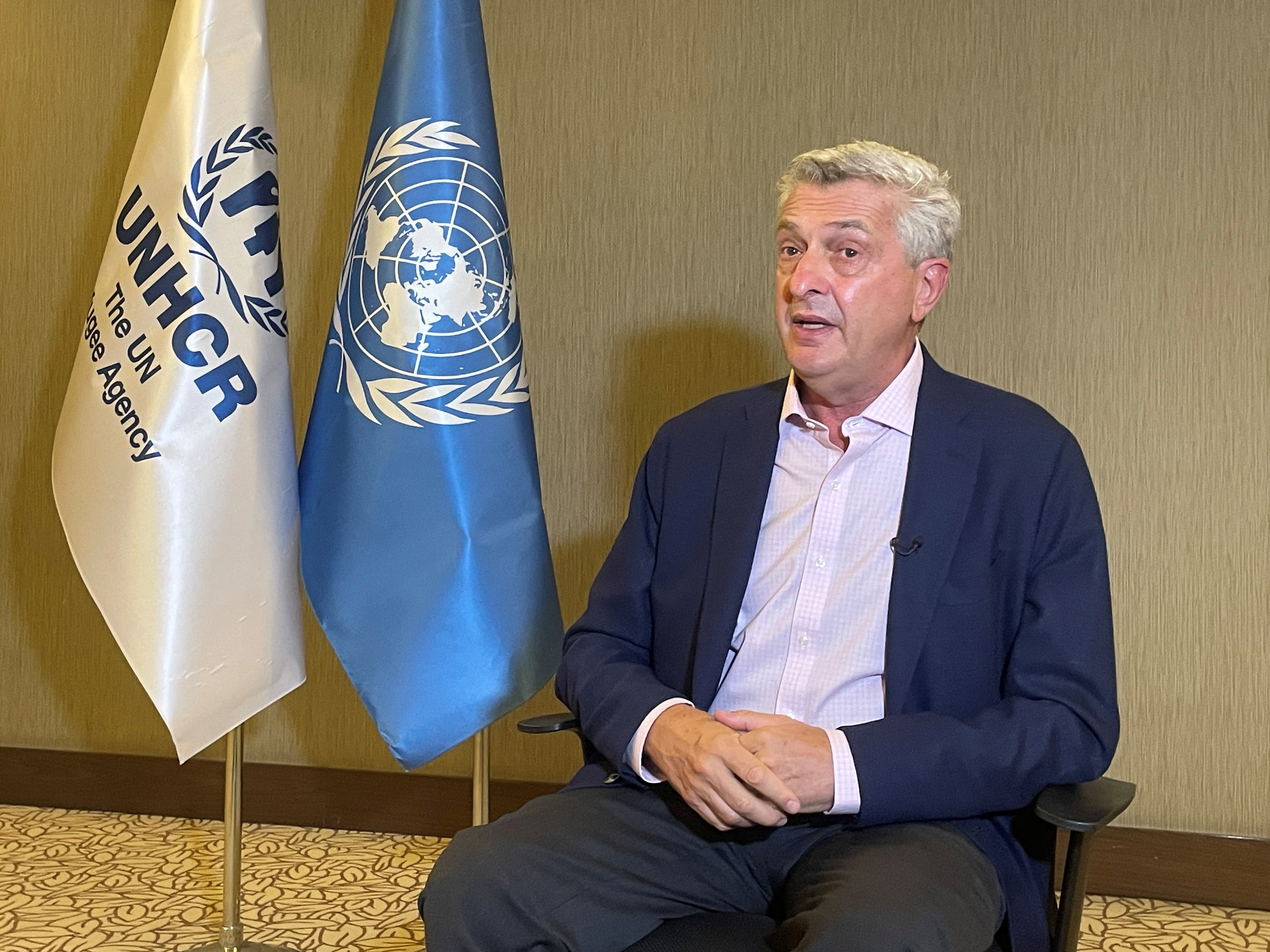 United Nations High Commissioner for Refugees (UNHCR) Filippo Grandi talks during an interview with Reuters in Gaziantep, Turkey September 10, 2021. REUTERS/Mehmet Emin Caliskan