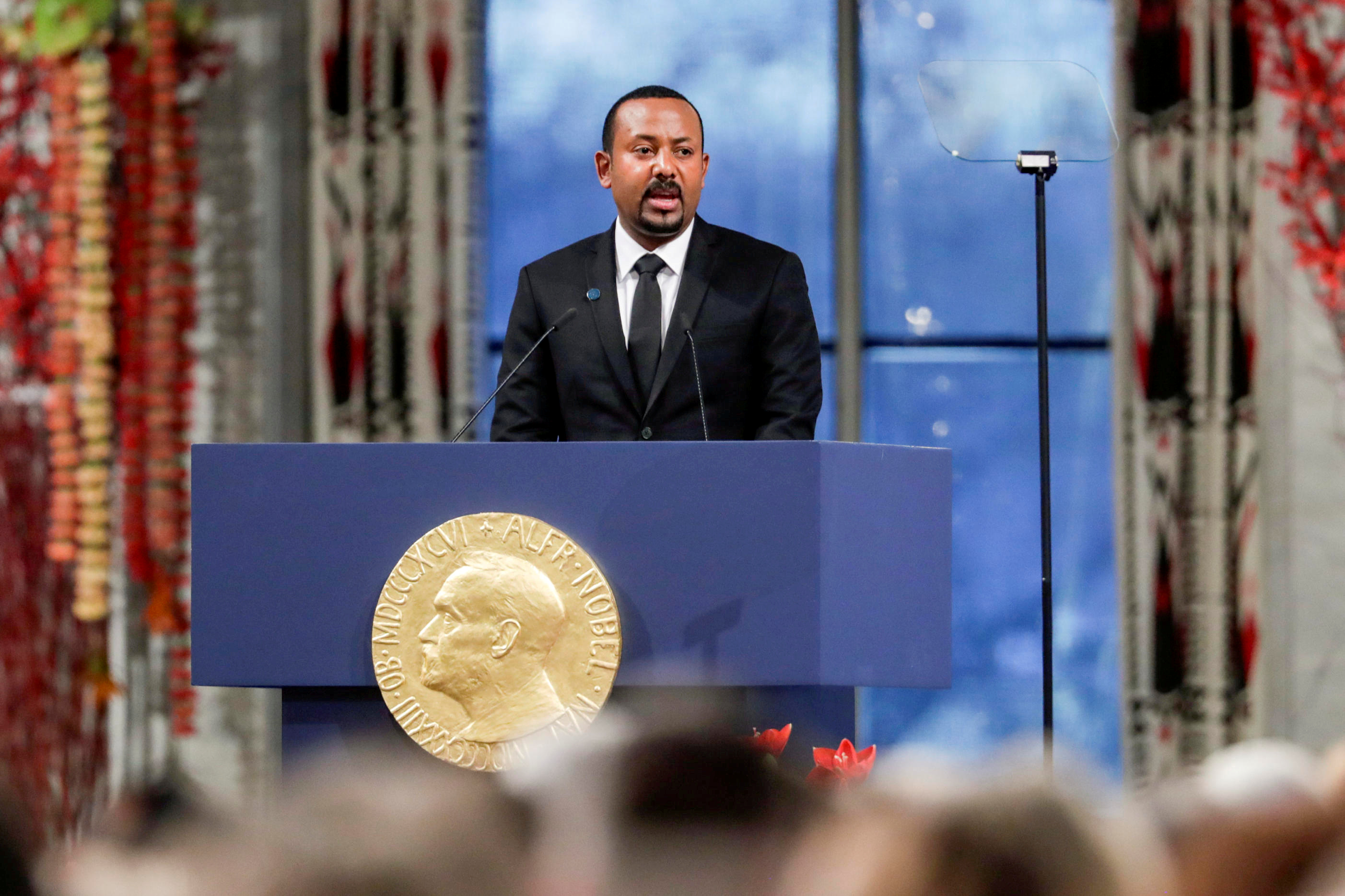 Nobel Peace Prize Laureate Ethiopian Prime Minister Abiy Ahmed Ali delivers his speach during the awarding ceremony in Oslo City Hall, Norway December 10, 2019.  NTB Scanpix/Stian Lysberg Solum via REUTERS