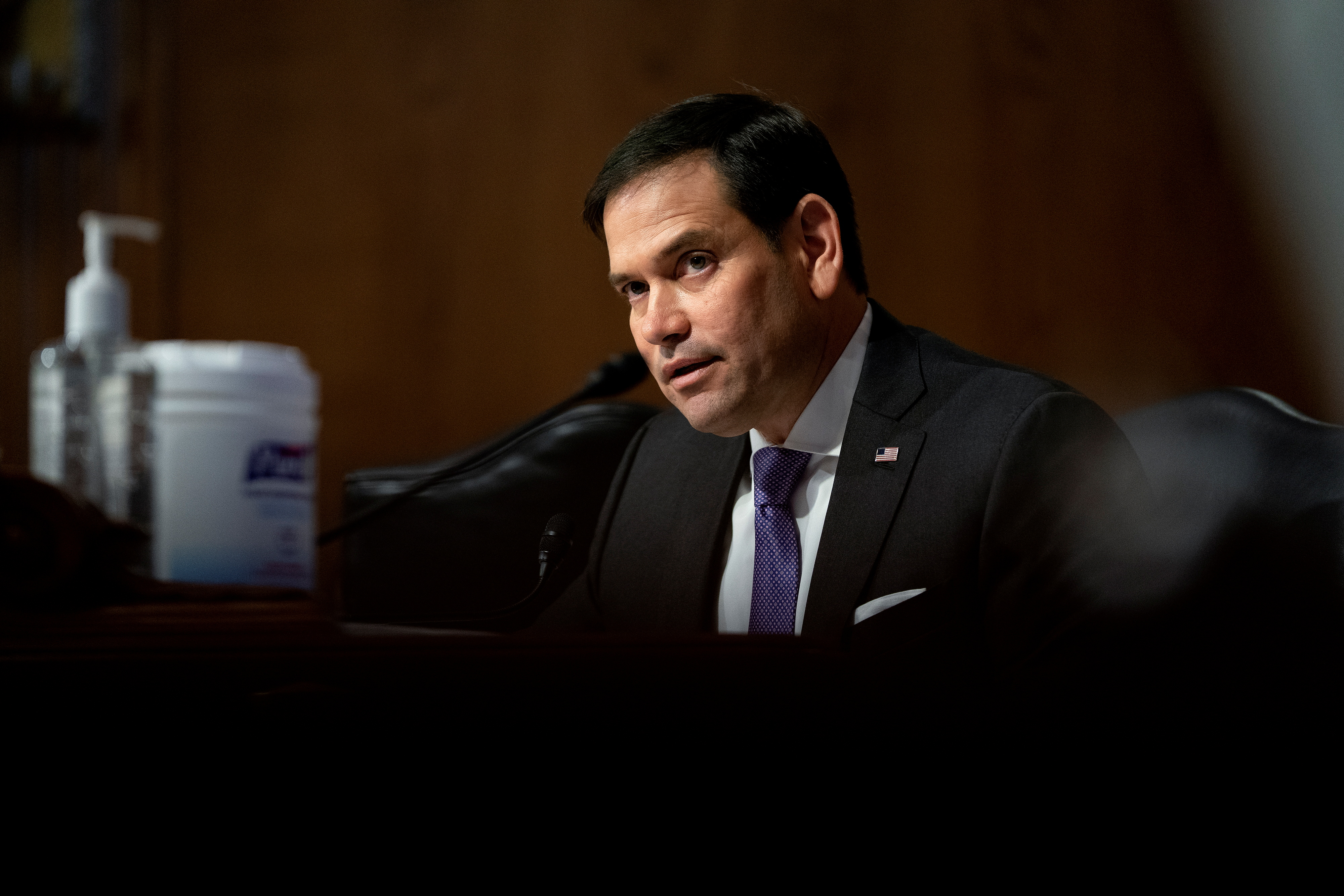 Senator Marco Rubio, a Republican from Florida, speaks during a Senate Appropriations Subcommittee hearing in Washington, D.C., U.S., May 26, 2021. Stefani Reynolds/Pool via REUTERS/Files