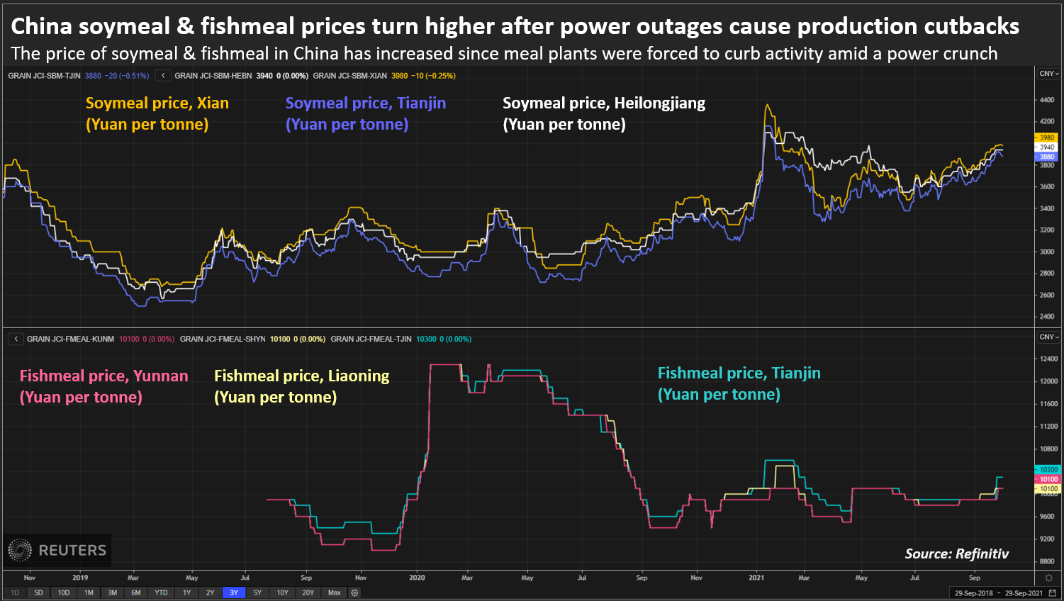 China soymeal & fishmeal prices turn higher after power outages cause production cutbacks