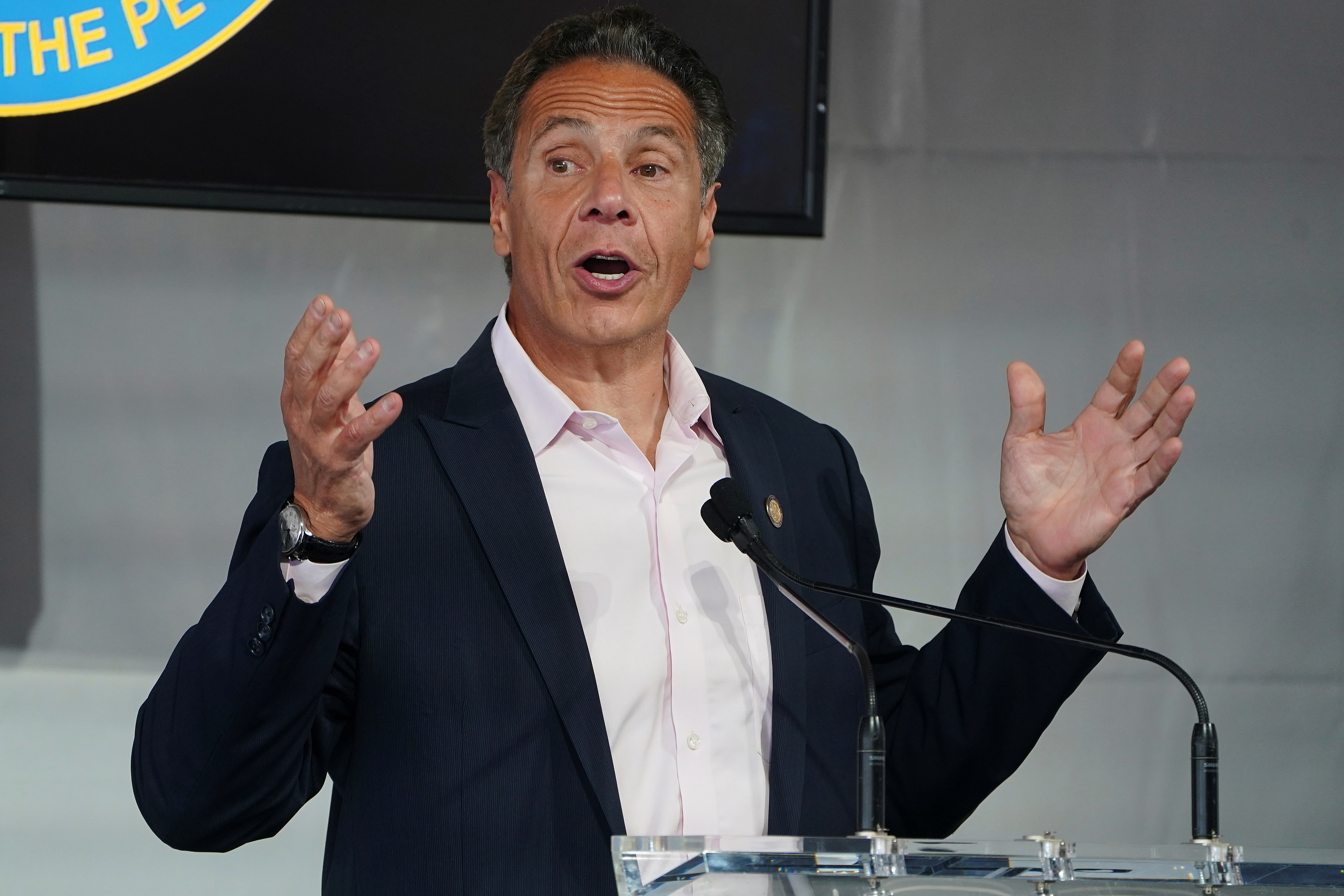 Andrew Cuomo Governor of New York appears at the opening ceremony for the Tribeca Festival in the Manhattan borough of New York City, New York, U.S., June 9, 2021.  REUTERS/Carlo Allegri/Pool