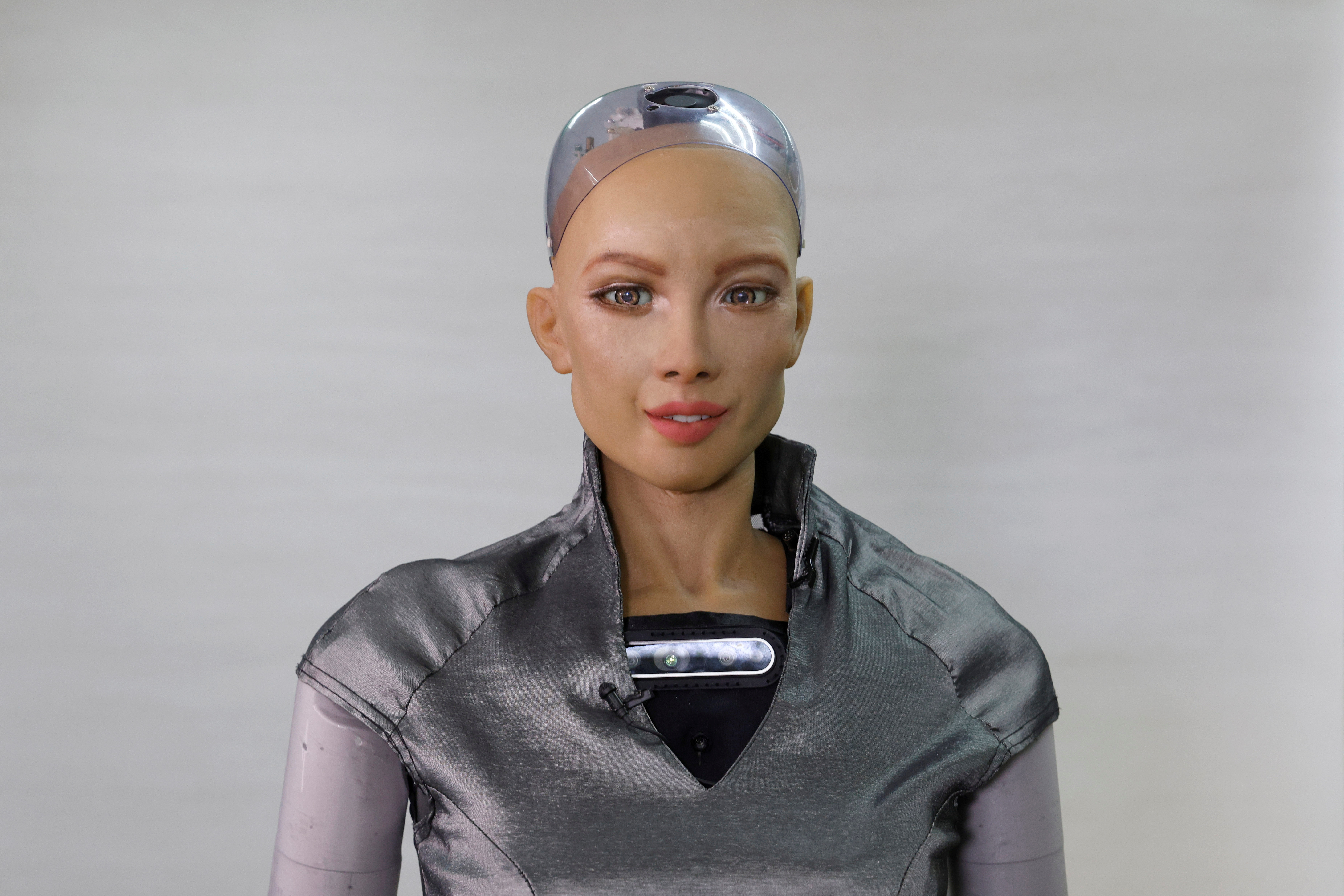 Humanoid robot Sophia developed by Hanson Robotics makes a facial expression at the company's lab in Hong Kong, China January 12, 2021. Picture taken January 12, 2021. REUTERS/Tyrone Siu