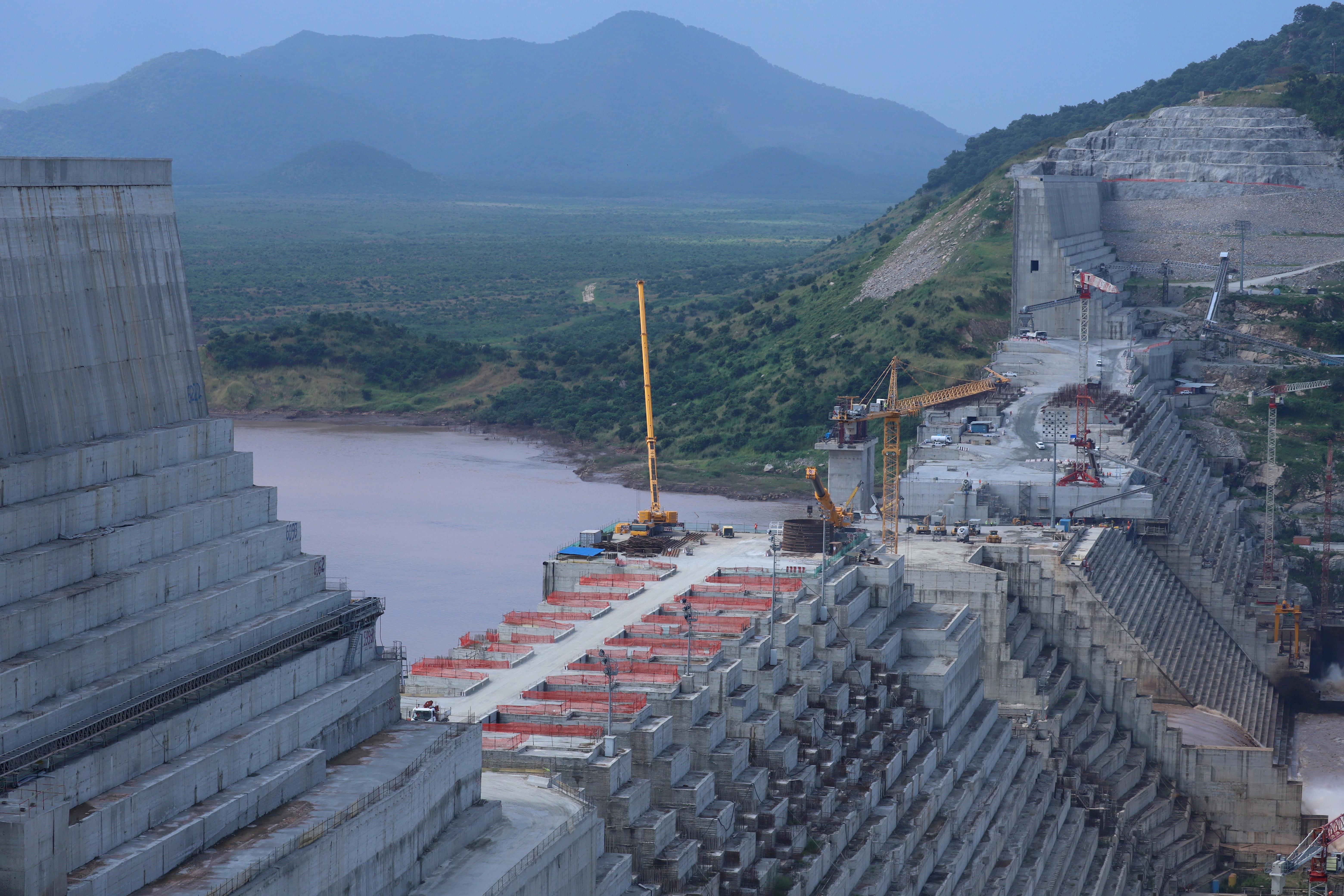 Ethiopia's Grand Renaissance Dam is seen as it undergoes construction work on the river Nile in Guba Woreda, Benishangul Gumuz Region, Ethiopia, September 26, 2019. REUTERS/Tiksa Negeri/File Photo