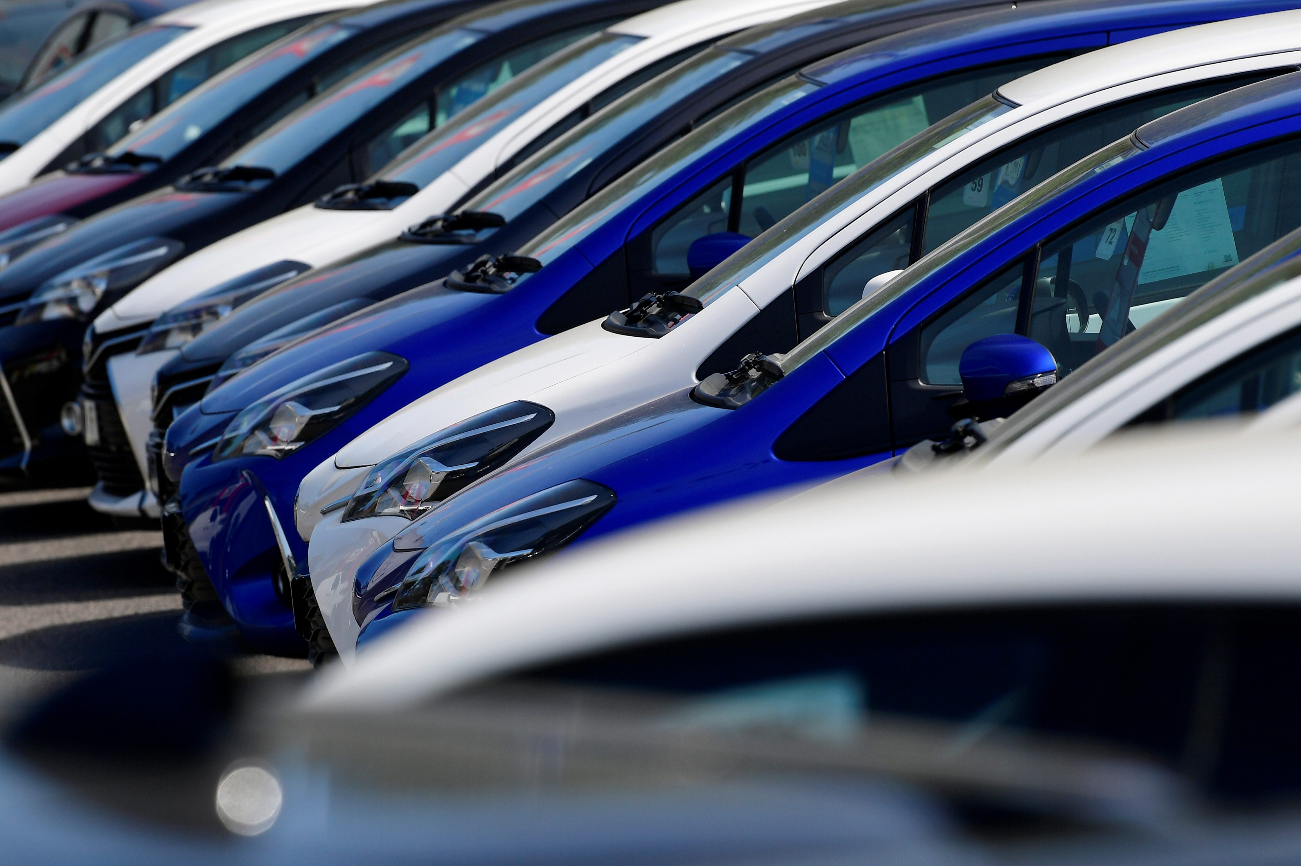 Toyota cars at a dealership in West London are pictured as it remains closed during lockdown following the outbreak of the coronavirus disease (COVID-19), London, Britain, May 5, 2020. REUTERS/Toby Melville