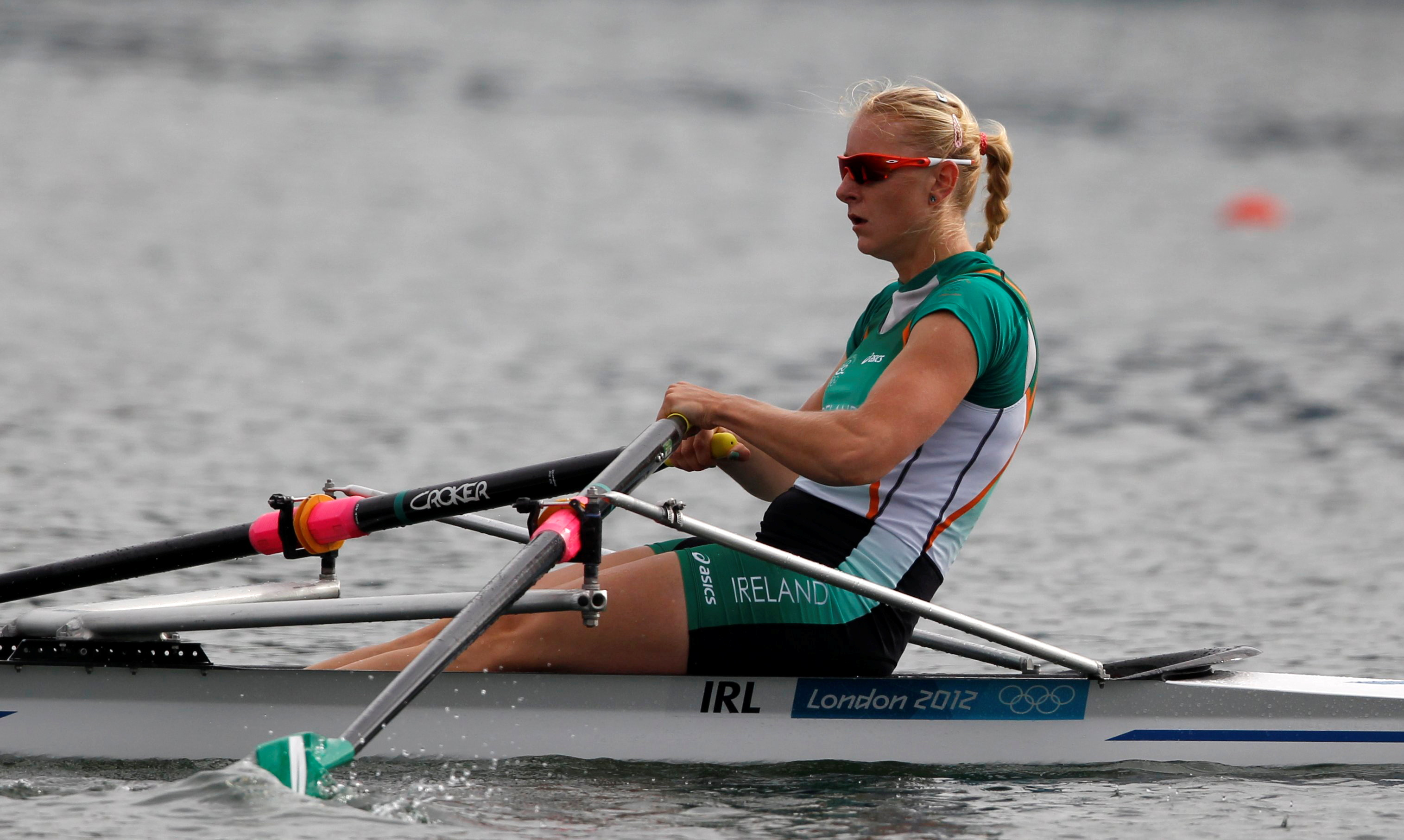 Ireland's Sanita Puspure competes in the women's single sculls semi-finals rowing event during the London 2012 Olympic Games at Eton Dorney August 2, 2012. REUTERS/Darren Whiteside