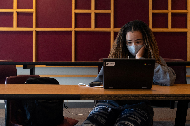 A girl works during study hall Parkland High School in Allentown, Pennsylvania, U.S. April 13, 2021. REUTERS/Hannah Beier
