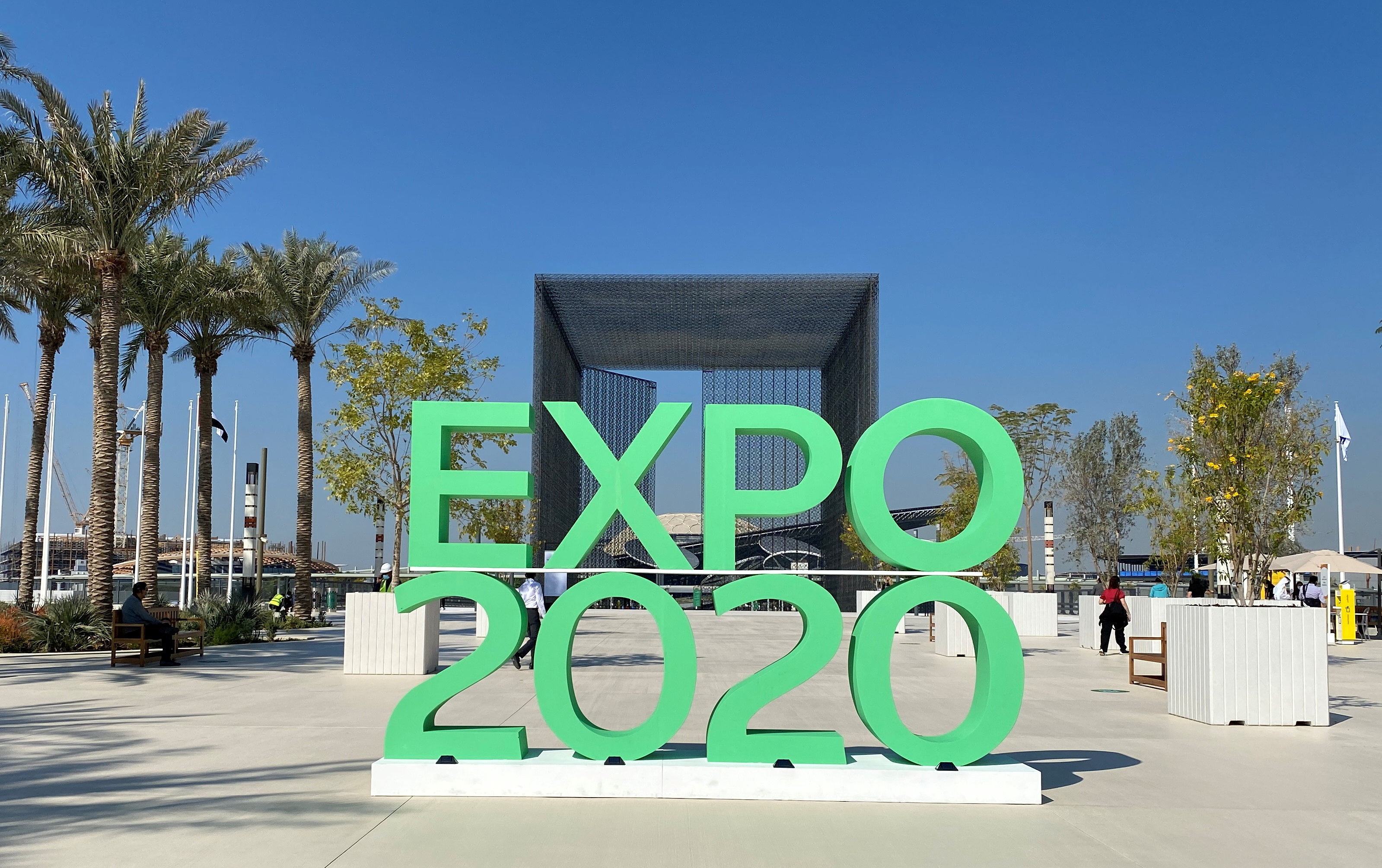 The sign of Dubai Expo 2020 is seen at the entrance of the site in Dubai, United Arab Emirates January 16, 2021. REUTERS/Rula Rouhana/File Photo