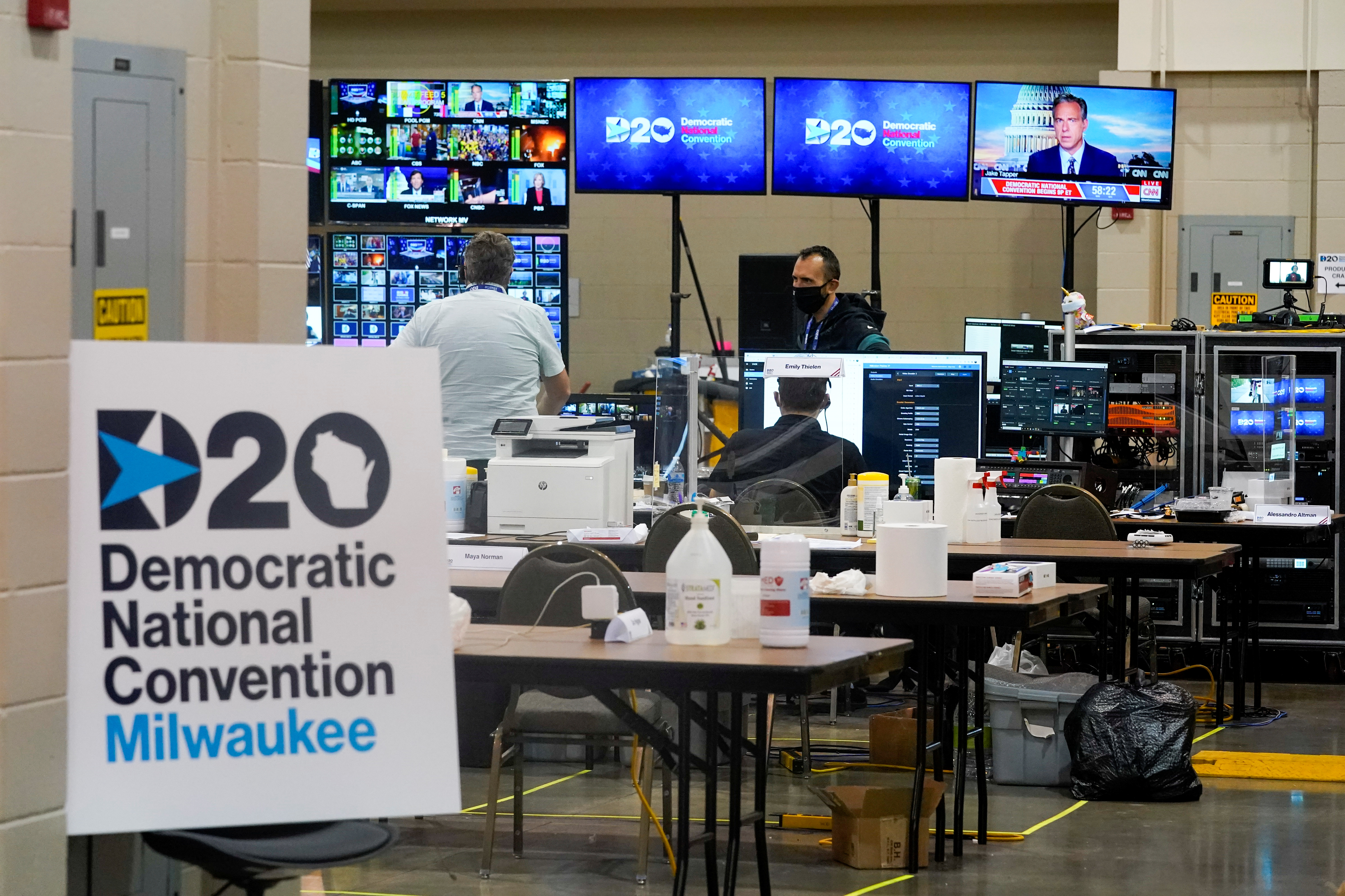The control room for the Democratic National Convention is seen before the start of the convention, in Milwaukee, Wisconsin, U.S. August 17, 2020. Morry Gash/Pool via REUTERS - RC21GI92VNTV