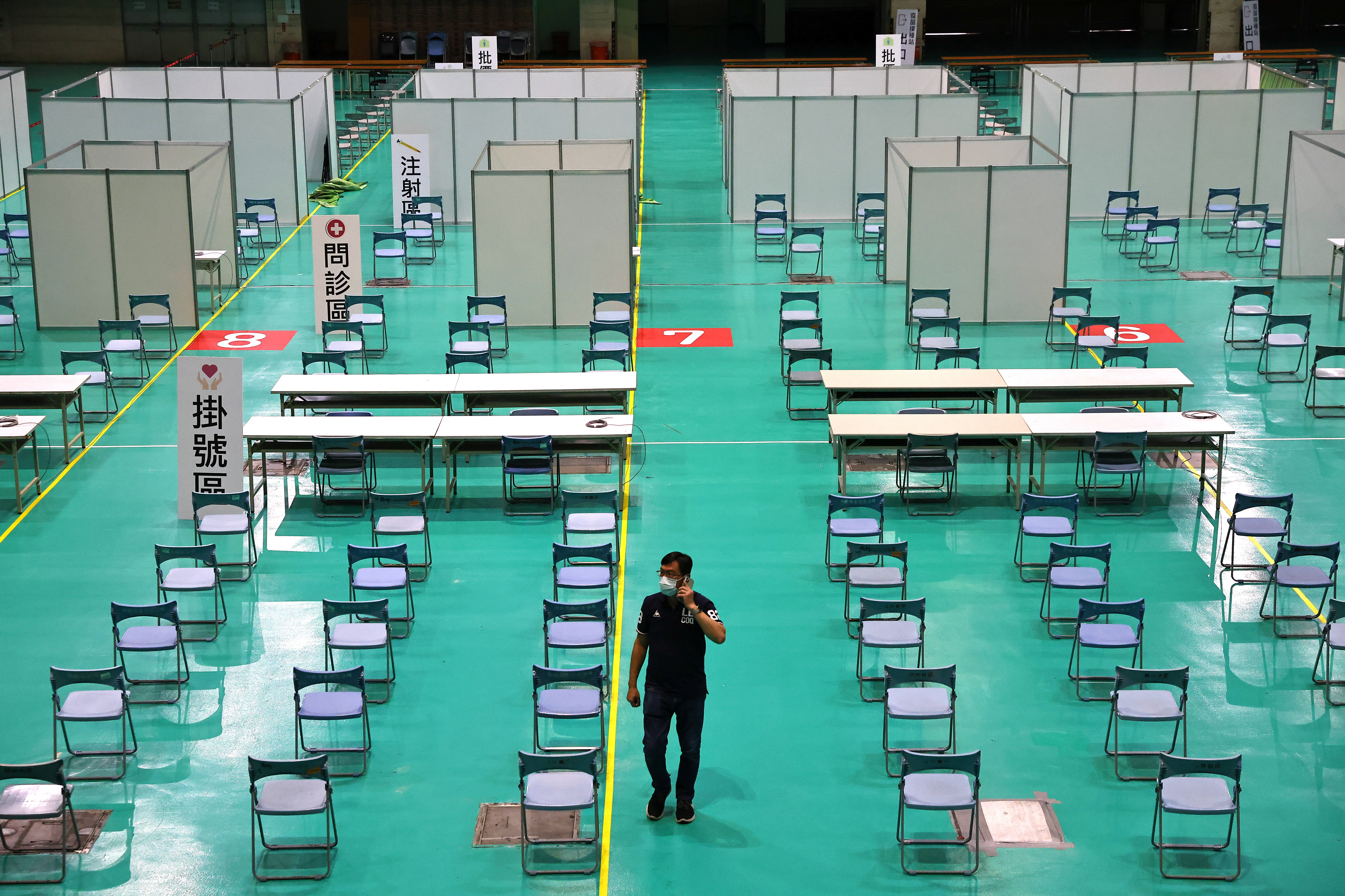 A general view of an exhibition hall, which is being converted into a makeshift vaccination site following the coronavirus disease (COVID-19) outbreak, in New Taipei City, Taiwan June 7, 2021. REUTERS/Ann Wang