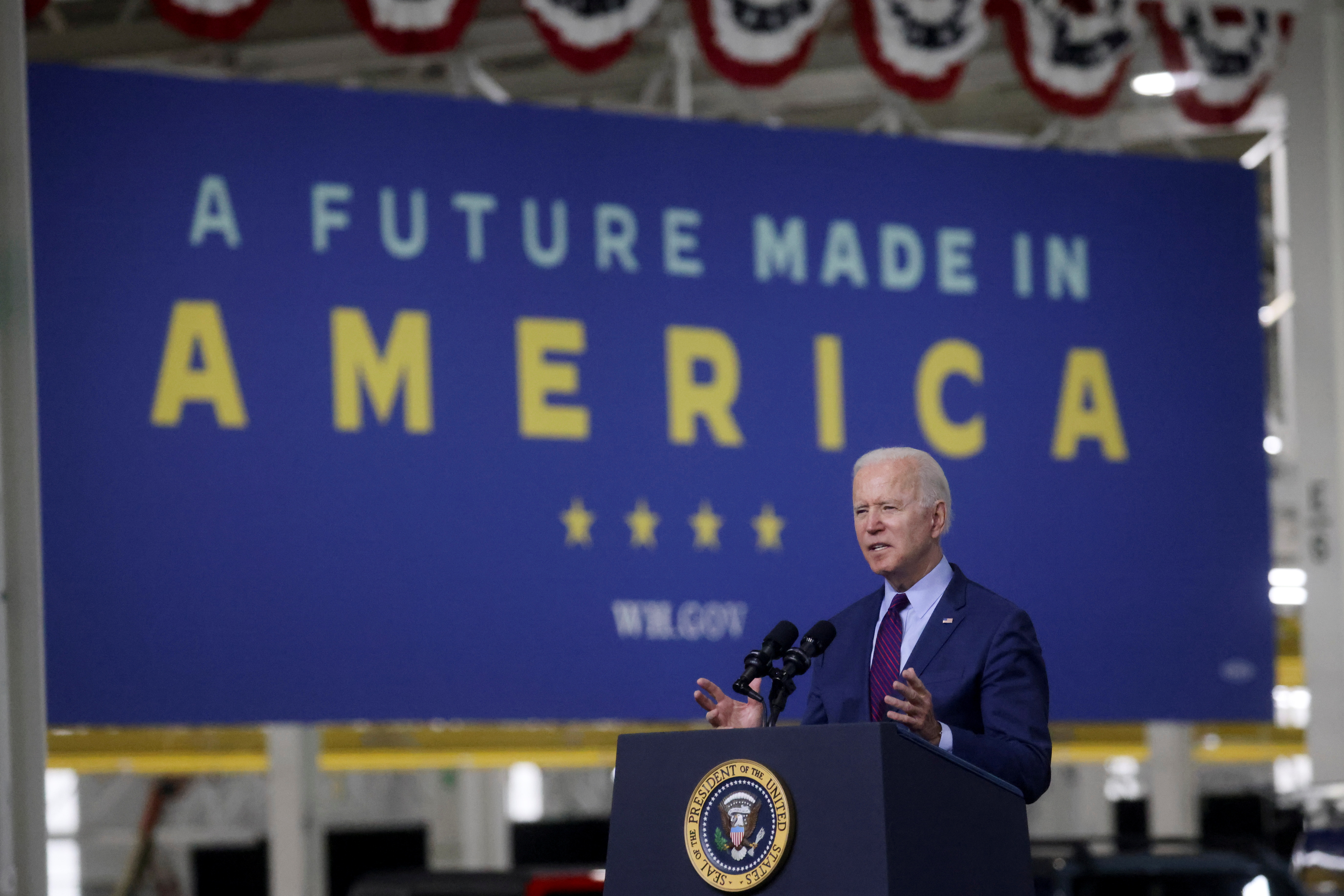 U.S. President Joe Biden delivers remarks after touring Ford Rouge Electric Vehicle Center in Dearborn, Michigan, U.S., May 18, 2021.  REUTERS/Leah Millis