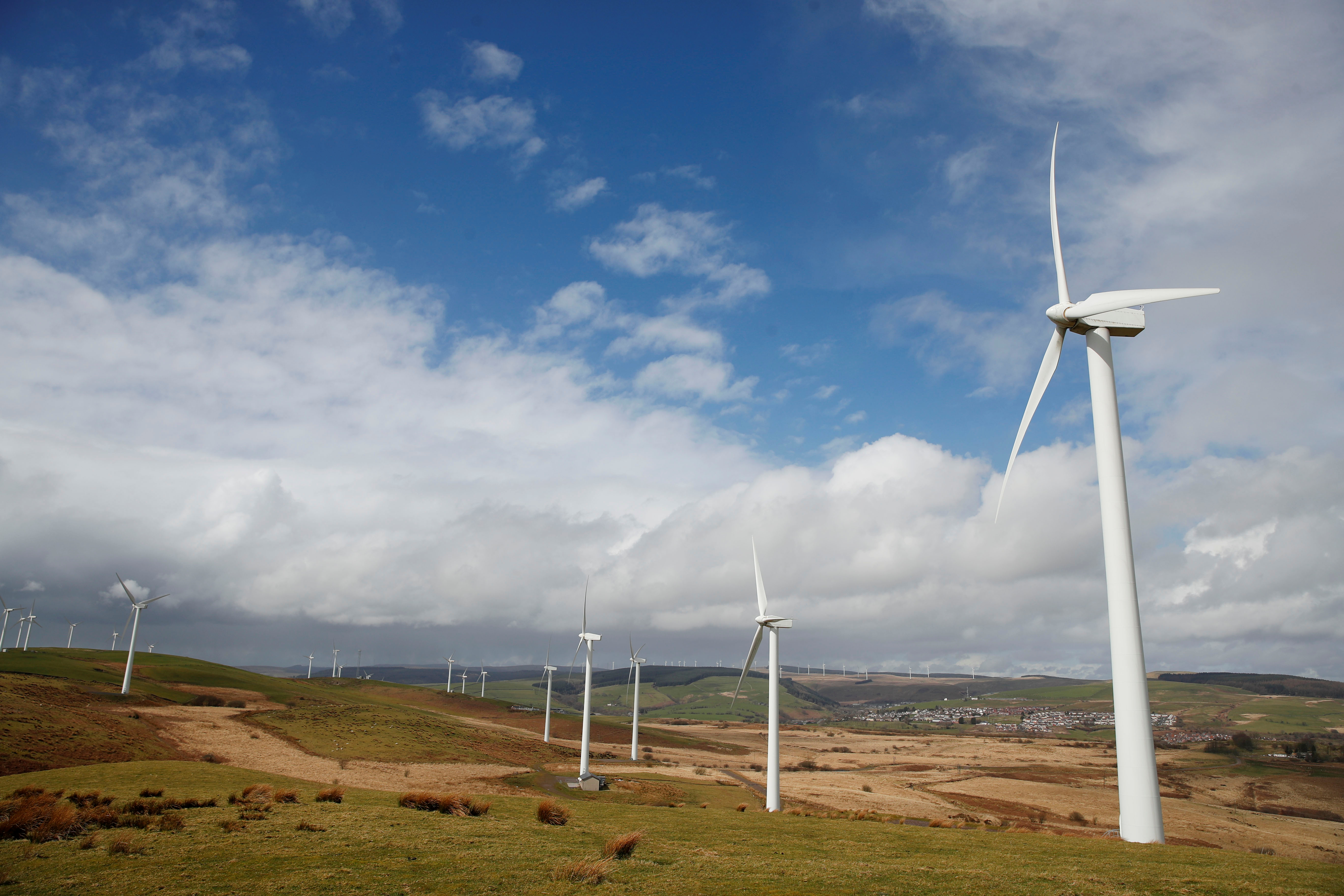 Wind turbines are seen at Mynydd Portref Wind Farm near Hendreforgan in South Wales, Britain, March 26, 2021.