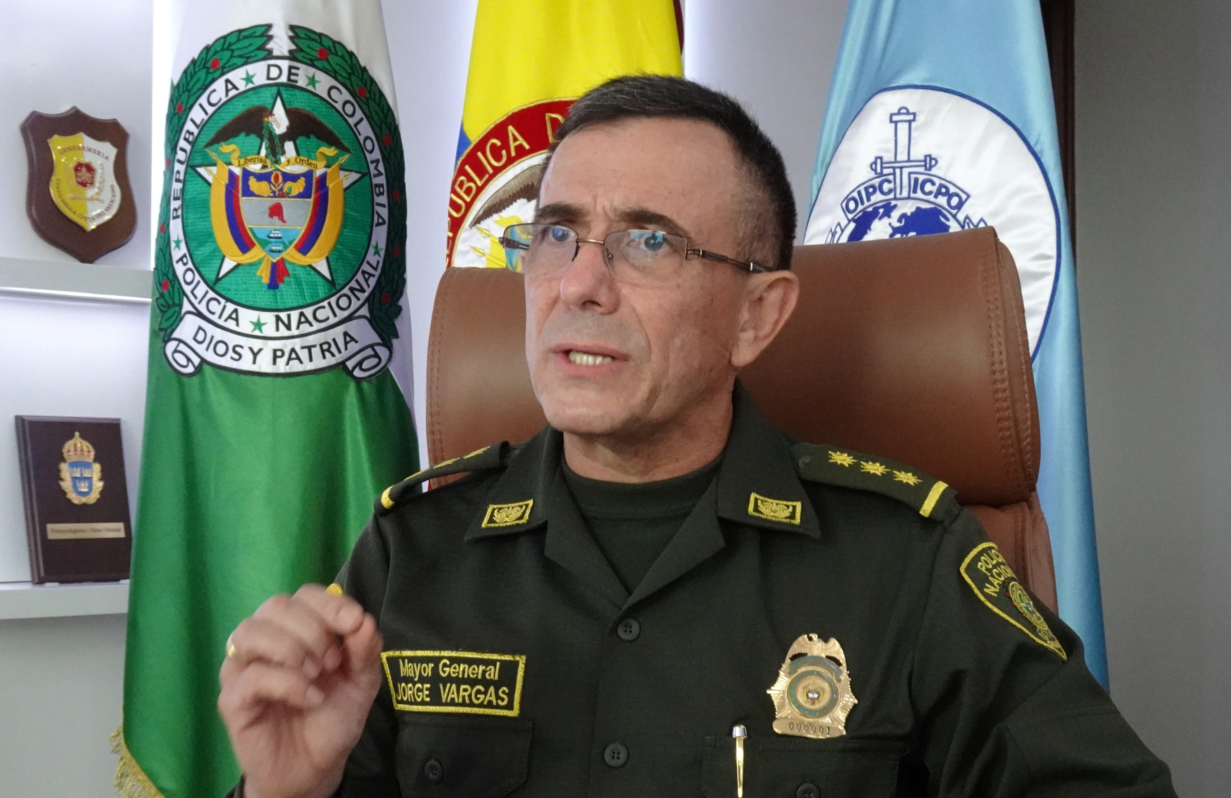 Colombia's National Police Director General Jorge Luis Vargas speaks during an interview with Reuters in Bogota, Colombia, May 15, 2021. Picture taken May 15, 2021. REUTERS/Javier Andres Rojas