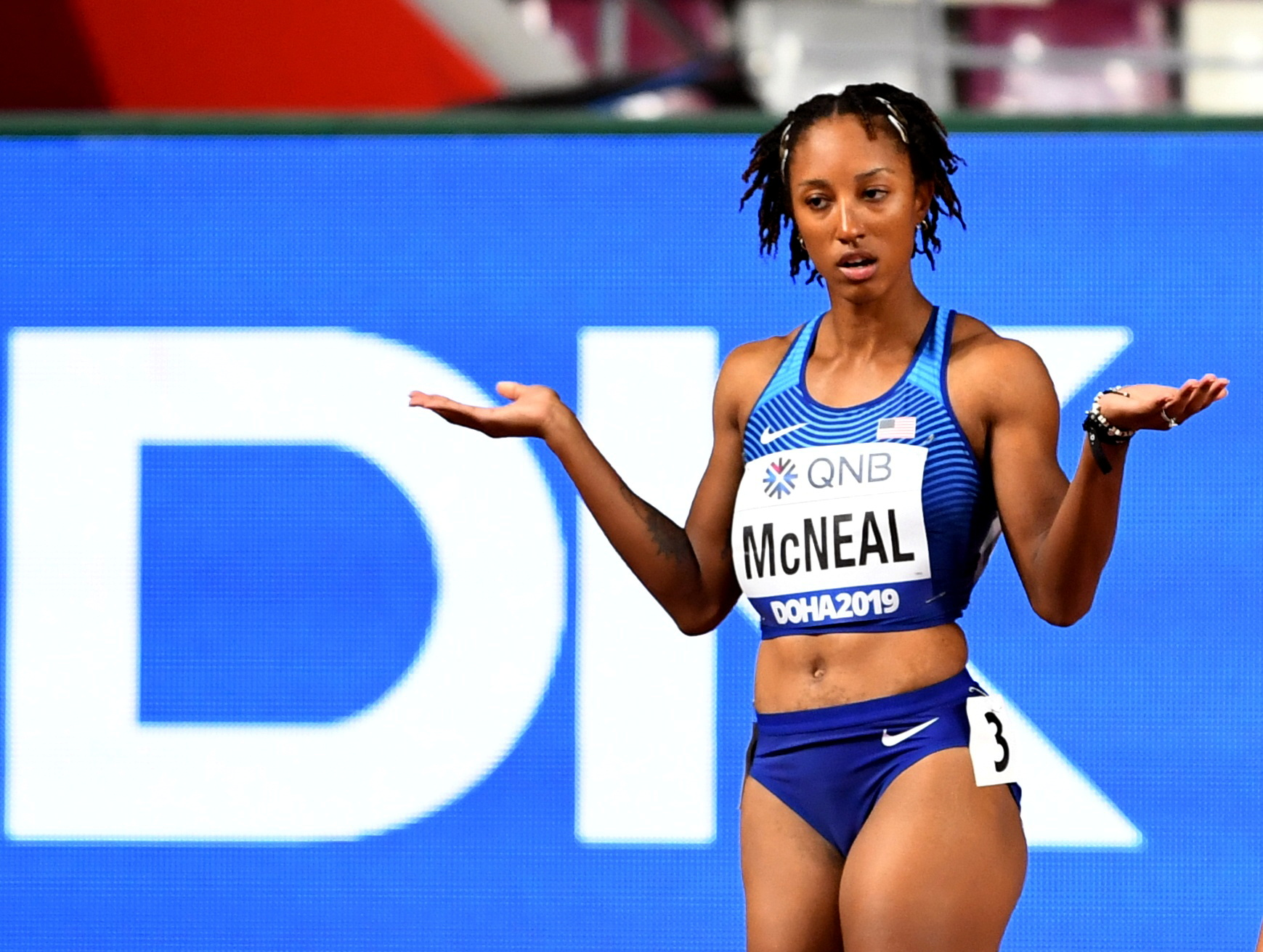 Athletics - World Athletics Championships - Doha 2019 - Women's 100 Metres Hurdles Heats - Khalifa International Stadium, Doha, Qatar - October 5, 2019  Brianna McNeal of the U.S. reacts after being disqualified for a false start REUTERS/Dylan Martinez/File Photo
