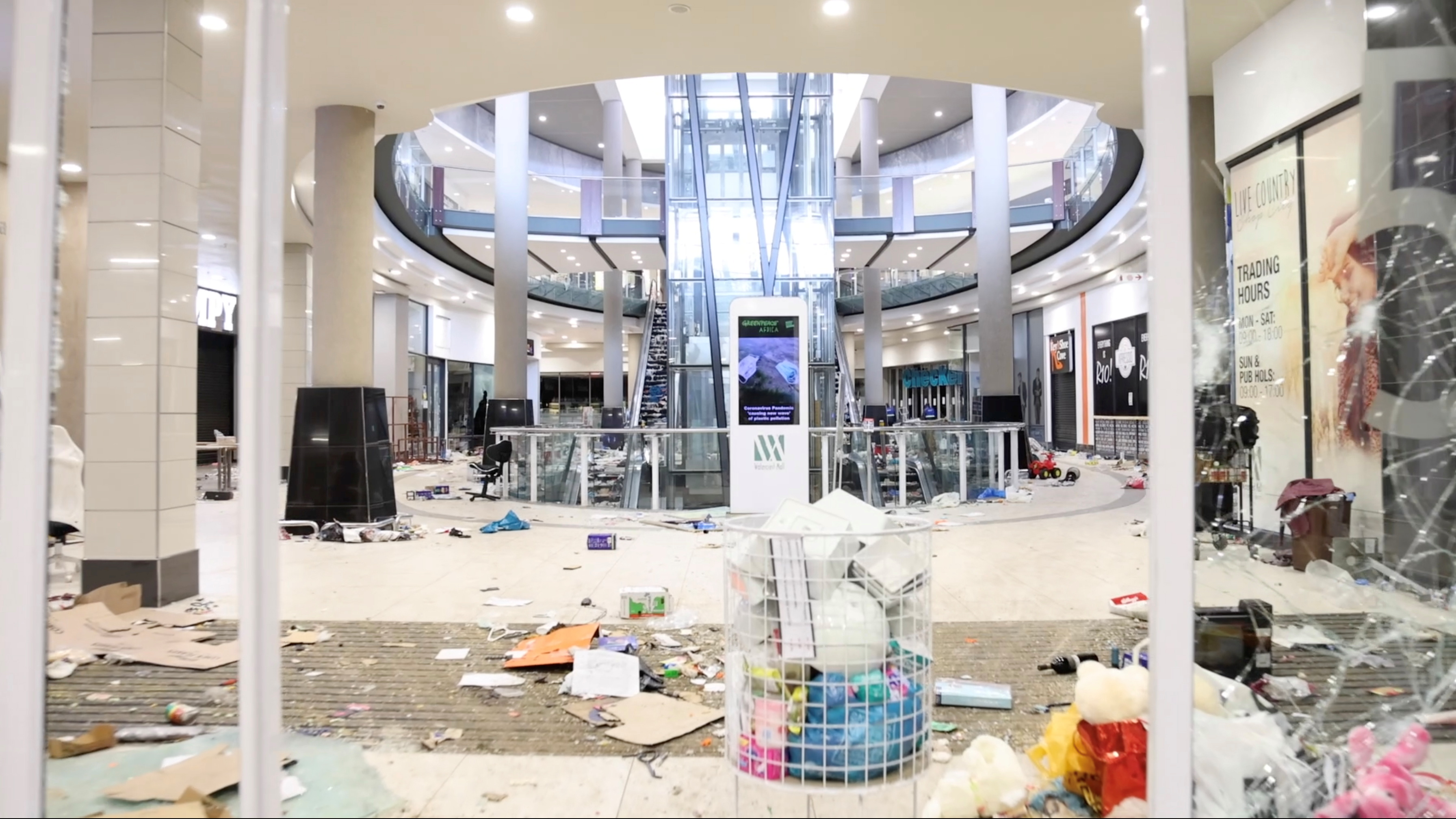 A view shows damage inside a shopping mall following protests that have widened into looting, in Durban, South Africa July 13, 2021, in this screen grab taken from a video. Courtesy Kierran Allen/via REUTERS
