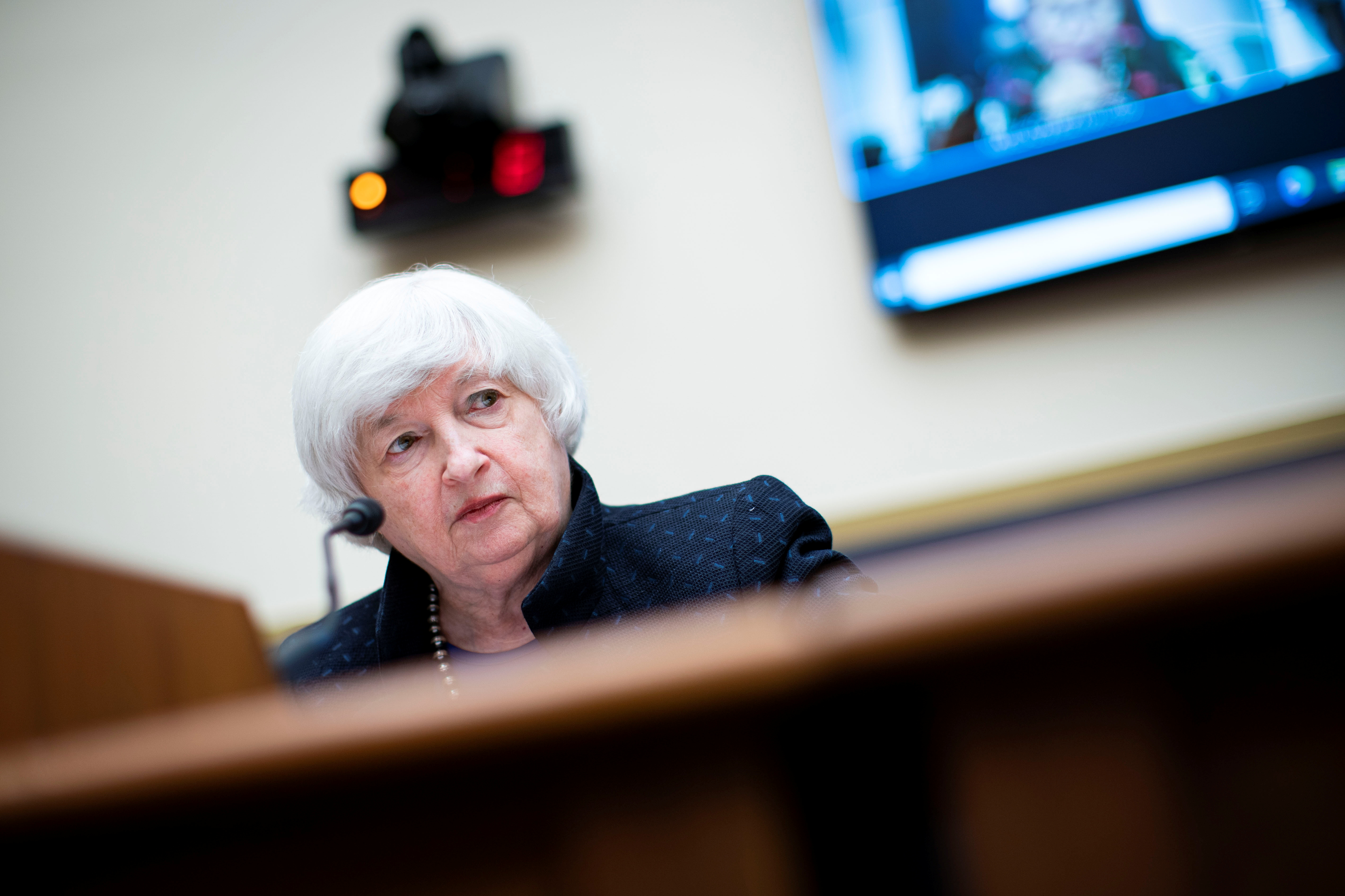 Treasury Secretary Janet Yellen attends the House Financial Services Committee hearing in Washington, U.S., September 30, 2021.  Al Drago/Pool via REUTERS