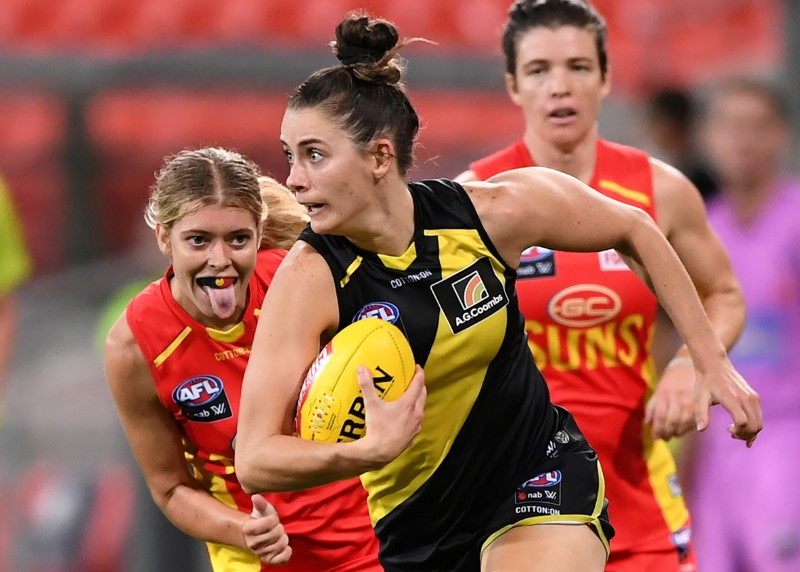 Tessa Lavey of the Tigers competes during the Round 7 AFLW match between the Gold Coast Suns and Richmond Tigers at Metricon Stadium on the Gold Coast, Australia, March 12, 2021. Picture taken March 12, 2021.  AAP Image/Dave Hunt via REUTERS