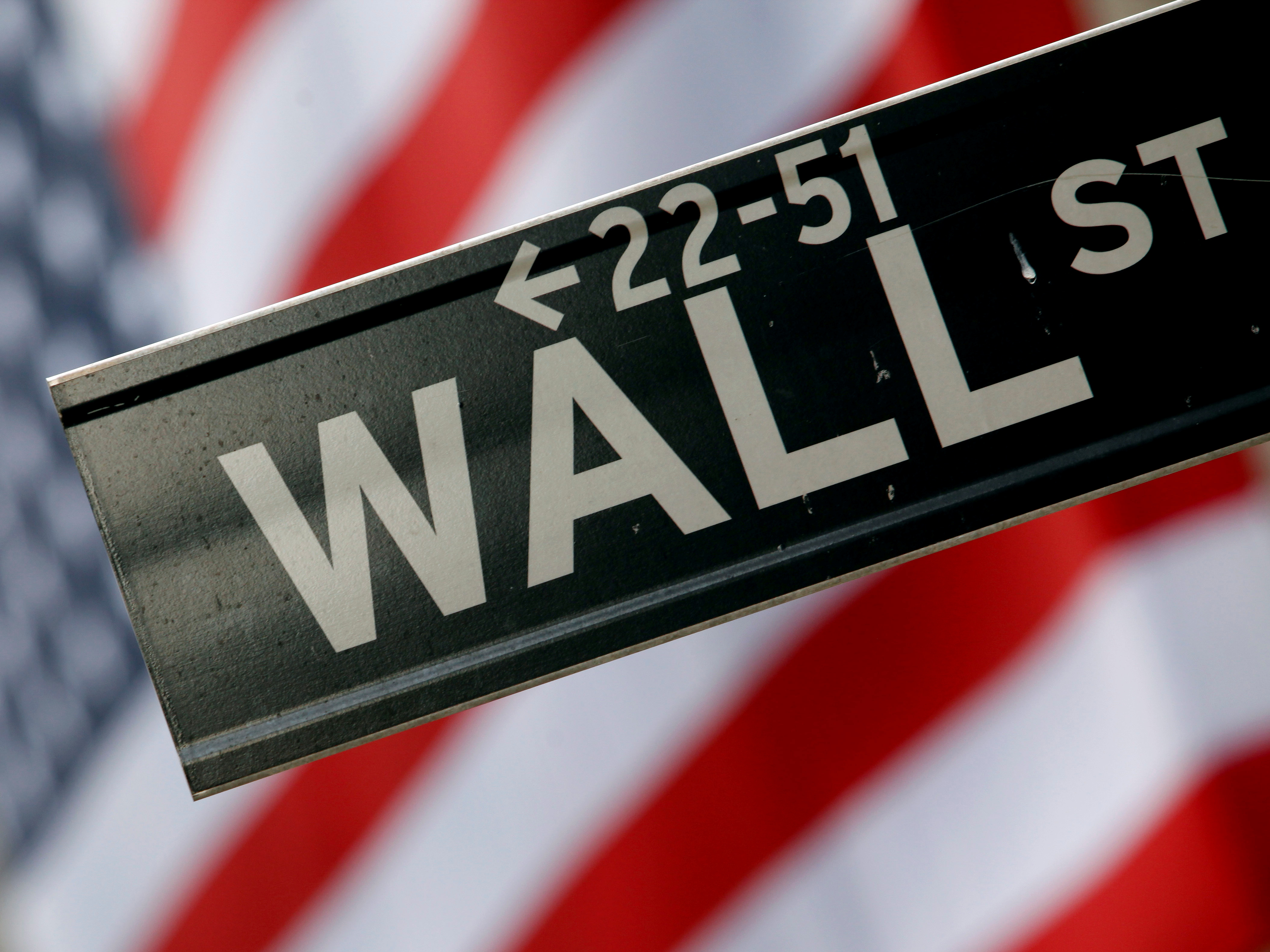 A street sign is seen in front of the New York Stock Exchange on Wall Street in New York, February 10, 2009. REUTERS/Eric Thayer/File Photo