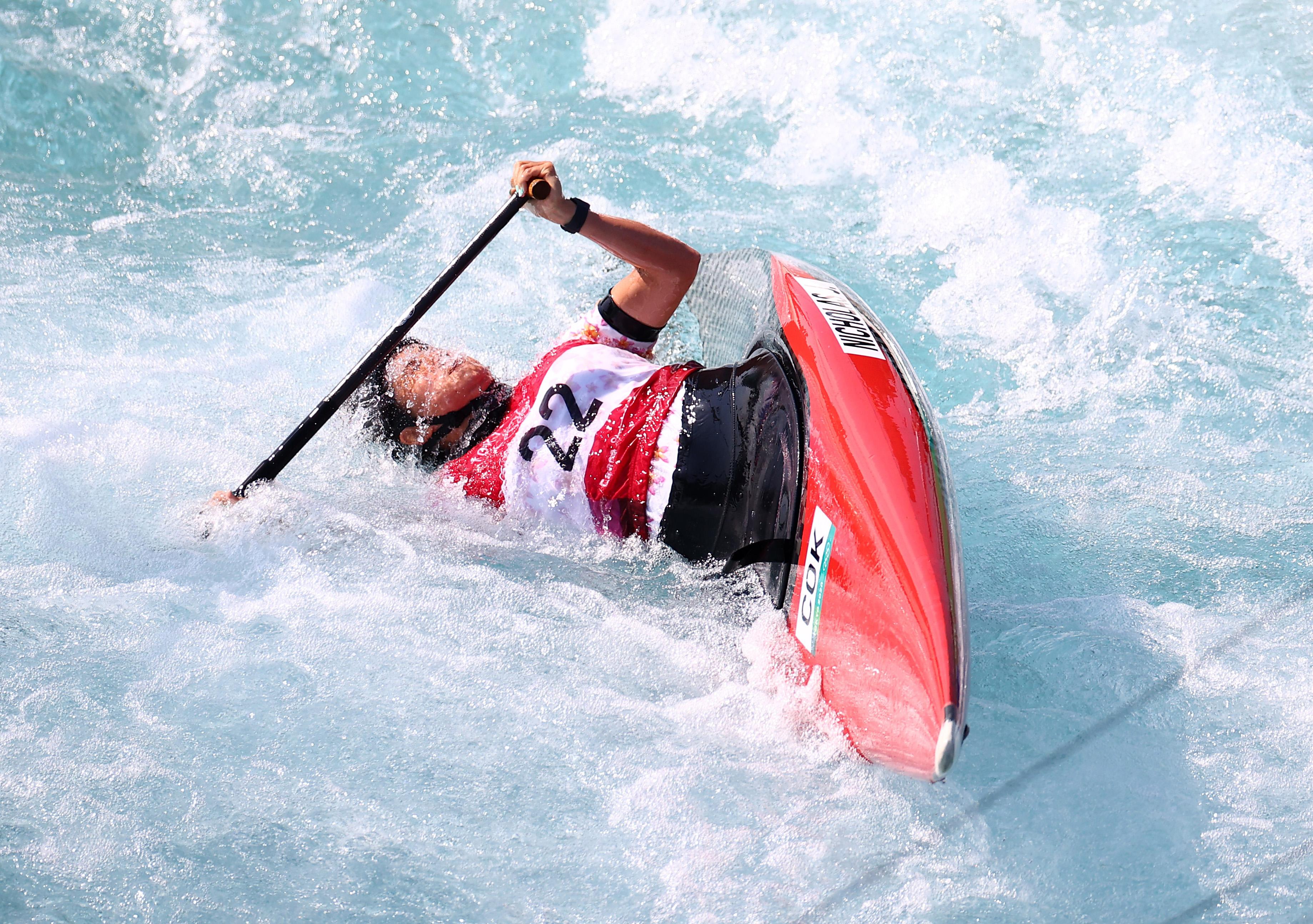 Tokyo 2020 Olympics - Canoe Slalom - Women's C1 - Heats - Kasai Canoe Slalom Centre, Tokyo, Japan - July 28, 2021. Jane Nicholas of the Cook Islands in action REUTERS/Yara Nardi