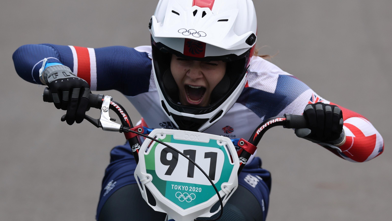 Tokyo 2020 Olympics - BMX Racing - Women's Individual - Final - AUP - Ariake Urban Sports Park, Tokyo, Japan - July 30, 2021.  Bethany Shriever of Britain celebrates after winning gold. REUTERS/Christian Hartmann