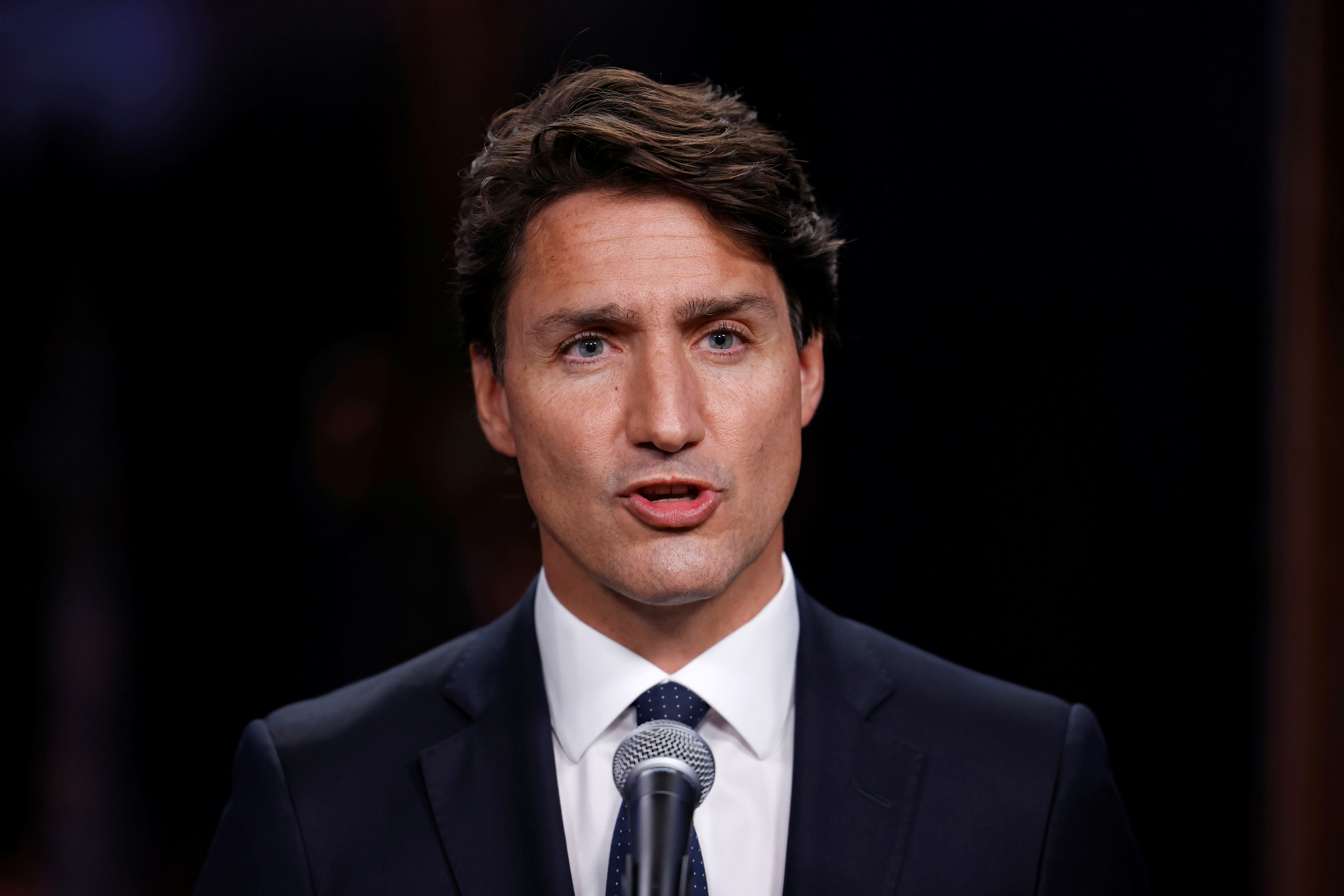 Canada's Liberal Prime Minister Justin Trudeau speaks at a news conference after the second of three two-hour debates ahead of the September 20 election, at the Canadian Museum of History in Gatineau, Quebec, Canada September 8, 2021. REUTERS/Blair Gable/File Photo