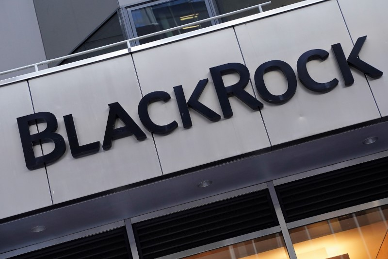 The BlackRock logo is pictured outside their headquarters in the Manhattan borough of New York City, New York, U.S., May 25, 2021.  REUTERS/Carlo Allegri/File Photo