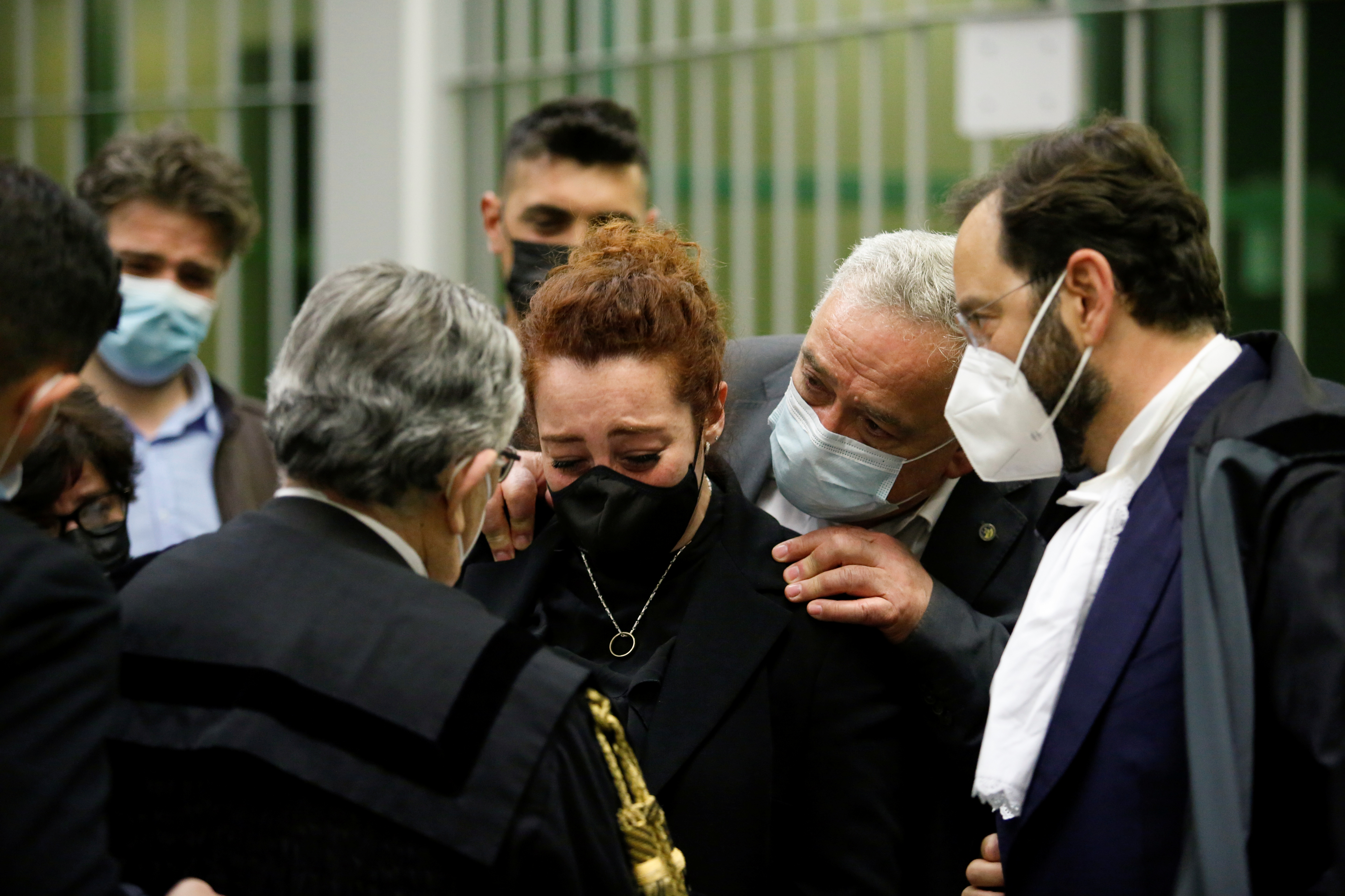 Rosa Maria Esilio, widow of slain Carabinieri military police officer Mario Cerciello Rega, reacts after U.S. citizens Finnegan Lee Elder and Gabriel Christian Natale-Hjorth were found guilty of the murder of her husband, in Rome, Italy, May 5, 2021. REUTERS/Remo Casilli