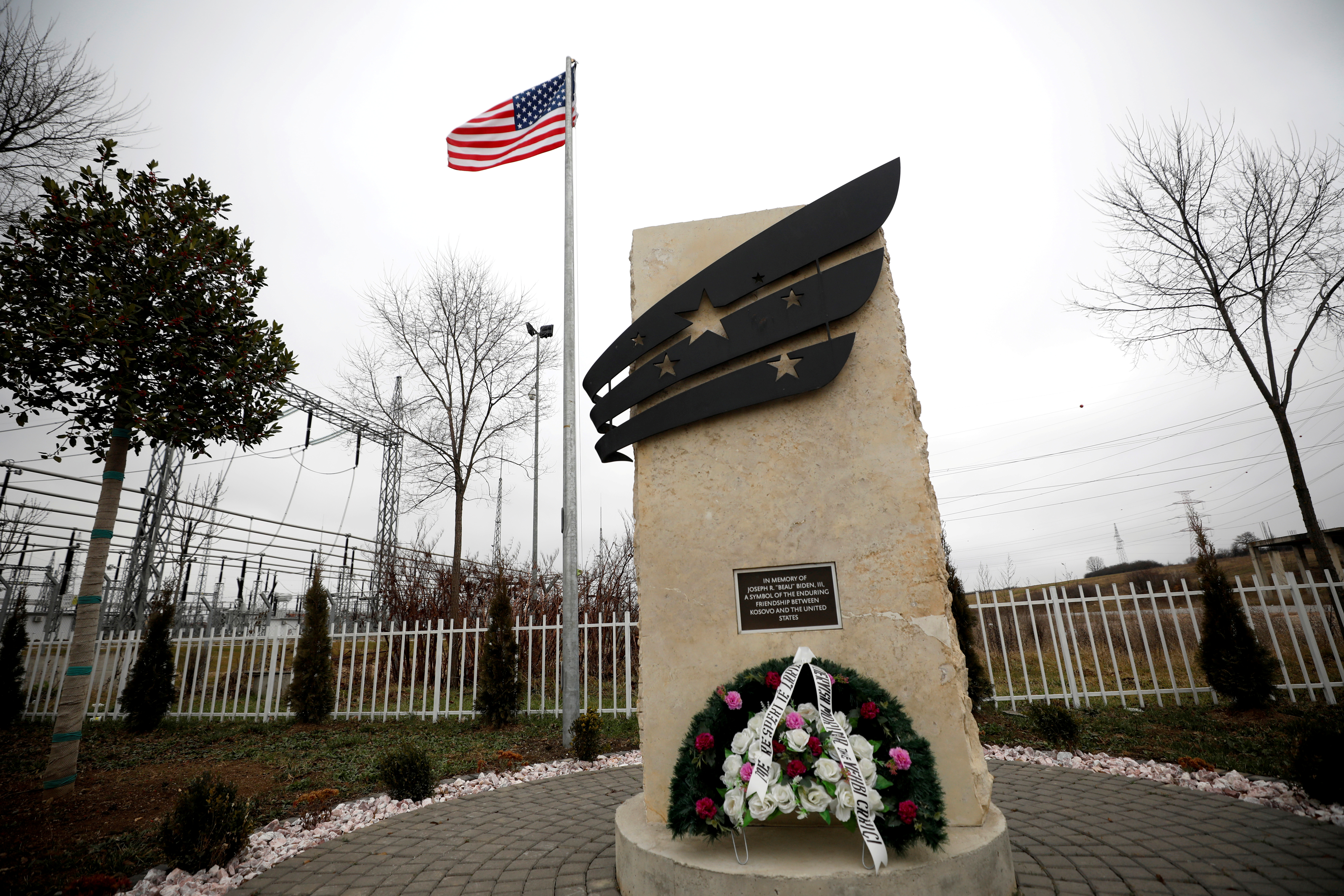The Memorial of U.S. President-elect Joe Biden's late son, Joseph R. 'Beau' Biden, III, is pictured in the village of Sojevo, Kosovo, December 20, 2020. REUTERS/Florion Goga/File Photo