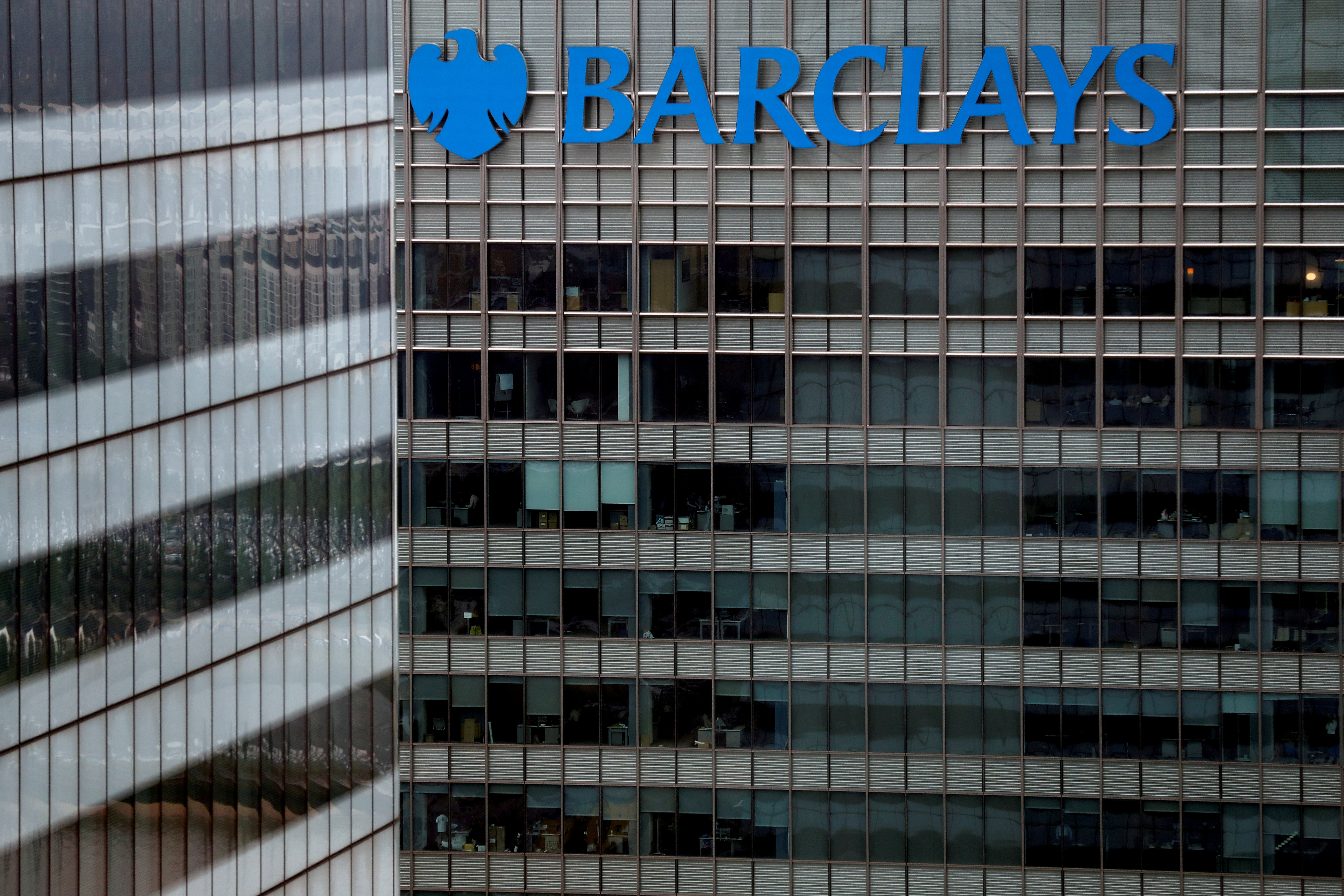 A Barclays bank building is seen at Canary Wharf in London, Britain May 17, 2017. REUTERS/Stefan Wermuth/File Photo