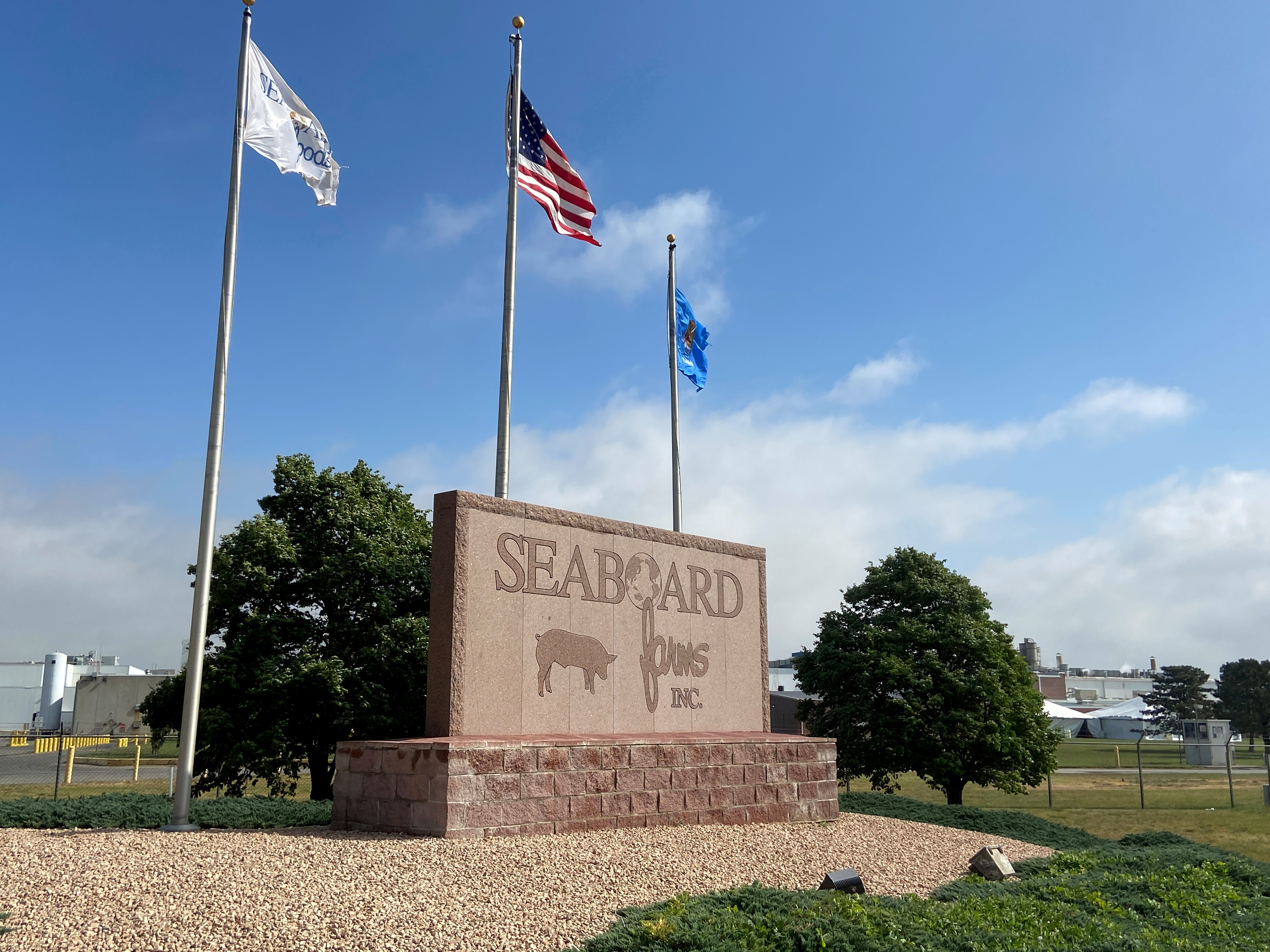 The logo of Seaboard Foods hog processing plant is seen in Guymon, Oklahoma, U.S., May 13, 2020. Picture taken May 13, 2020. REUTERS/Andrew Hay/File Photo