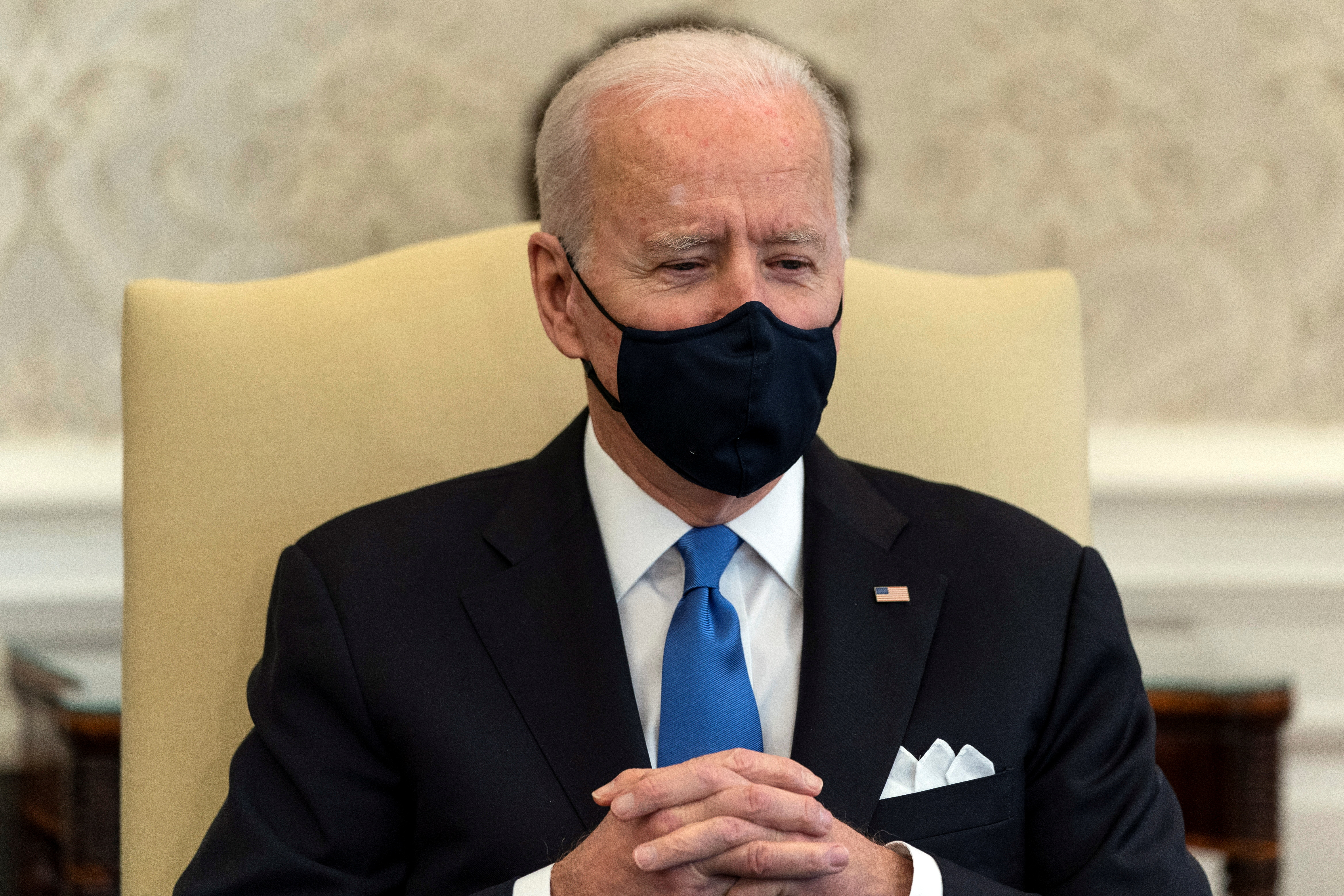 U.S. President Joe Biden attends a bipartisan meeting on cancer legislation in the Oval Office at the White House in Washington, U.S., March 3, 2021. Alex Brandon/Pool via REUTERS