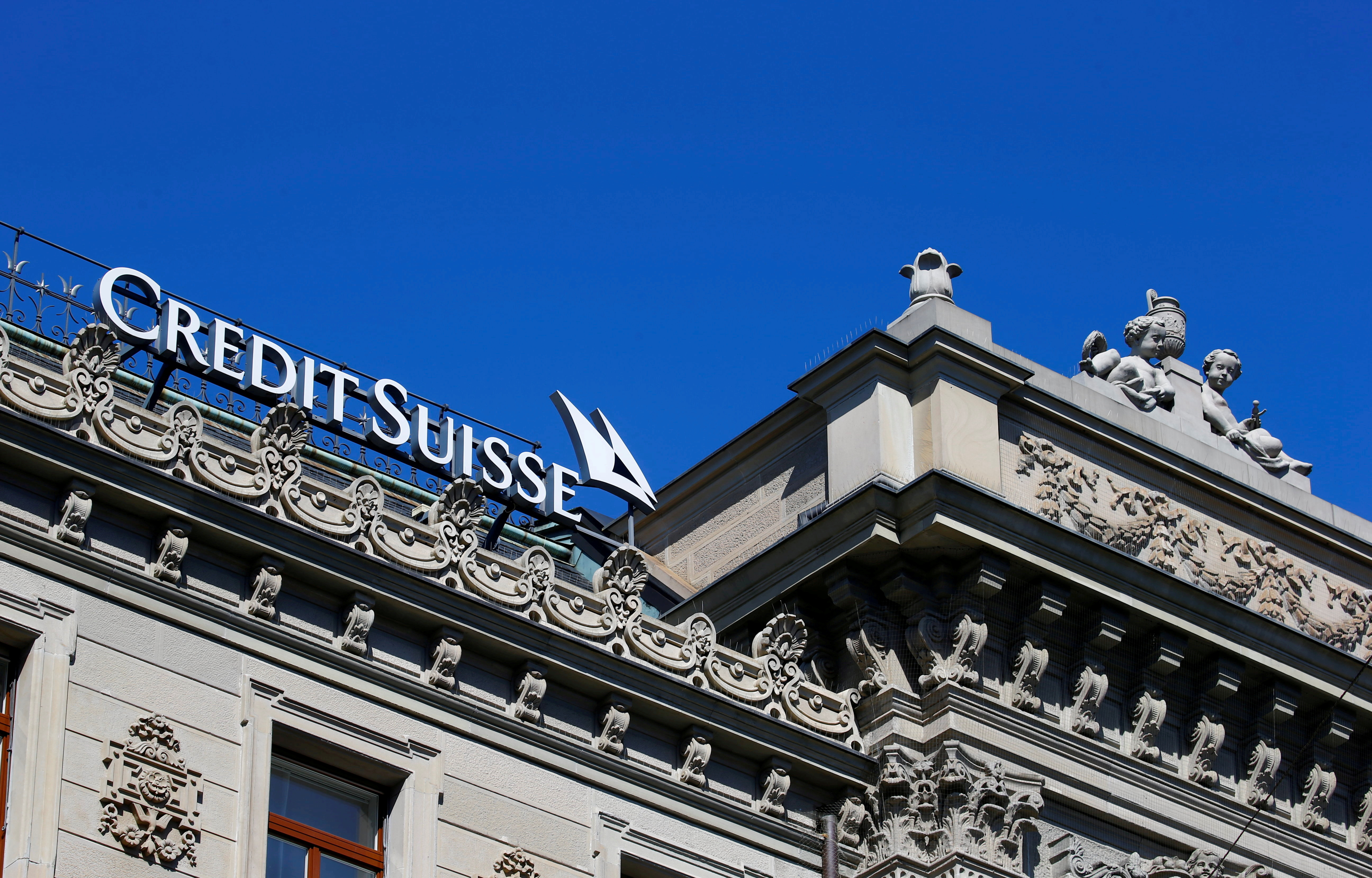 The logo of Swiss bank Credit Suisse is seen at its headquarters in Zurich, Switzerland March 24, 2021.   REUTERS/Arnd Wiegmann/File Photo