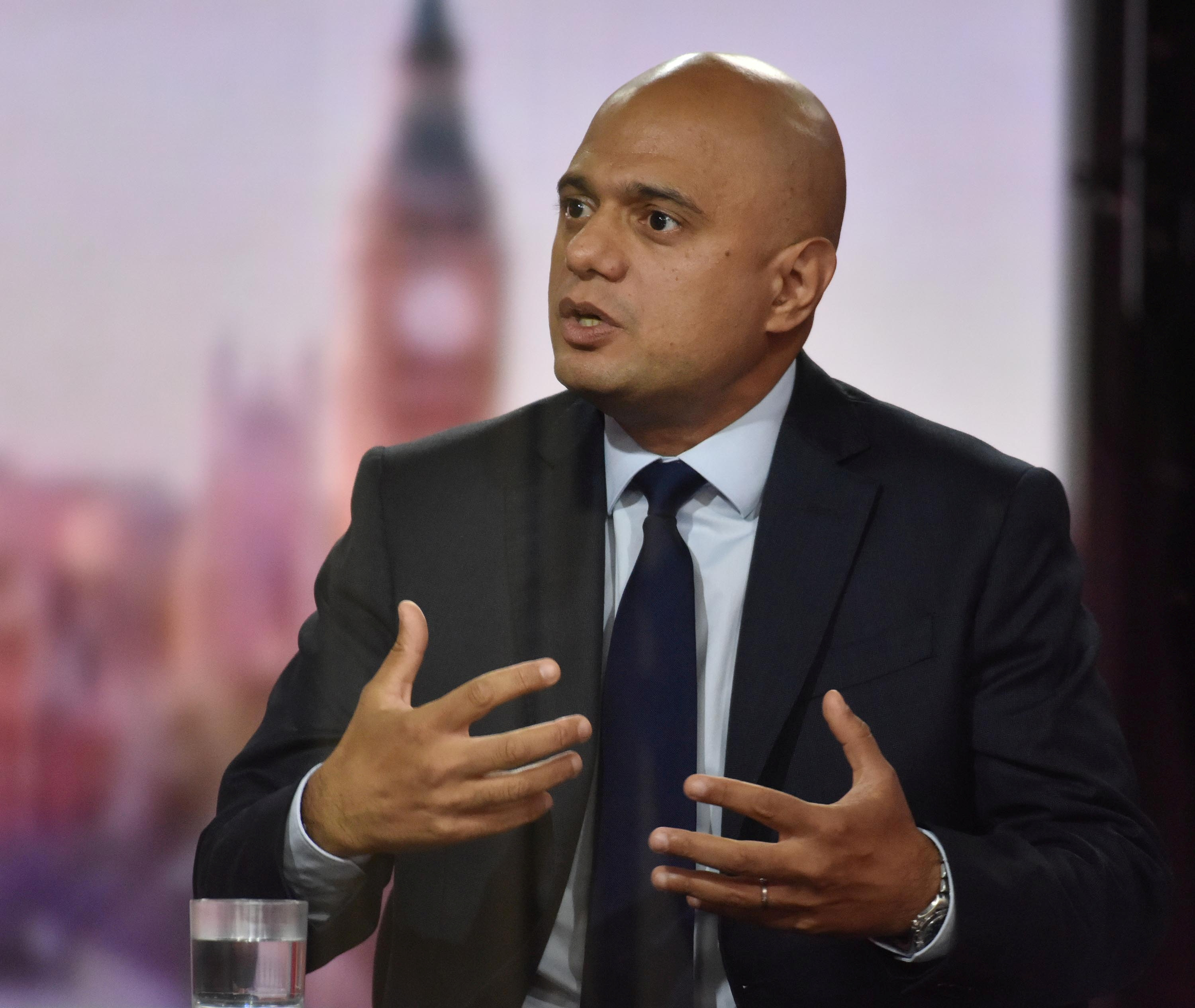 Britain's Health Secretary Sajid Javid talks as he appears as a guest on the Andrew Marr Show, at the BBC headquarters in London, Britain September 12, 2021. Jeff Overs/BBC/Handout via REUTERS