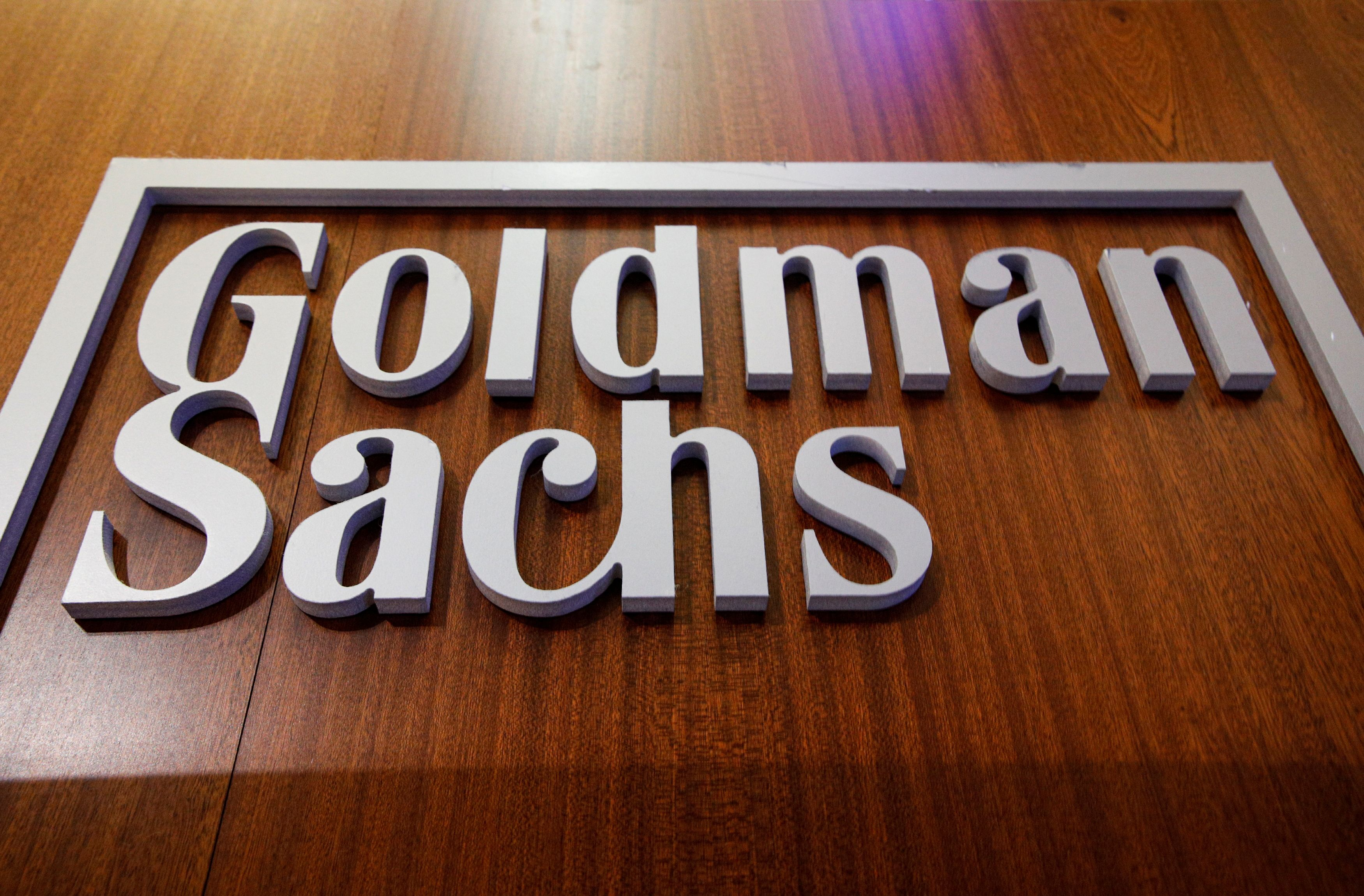 The Goldman Sachs company logo is on the floor of the New York Stock Exchange (NYSE) in New York City, U.S., July 13, 2021.  REUTERS/Brendan McDermid