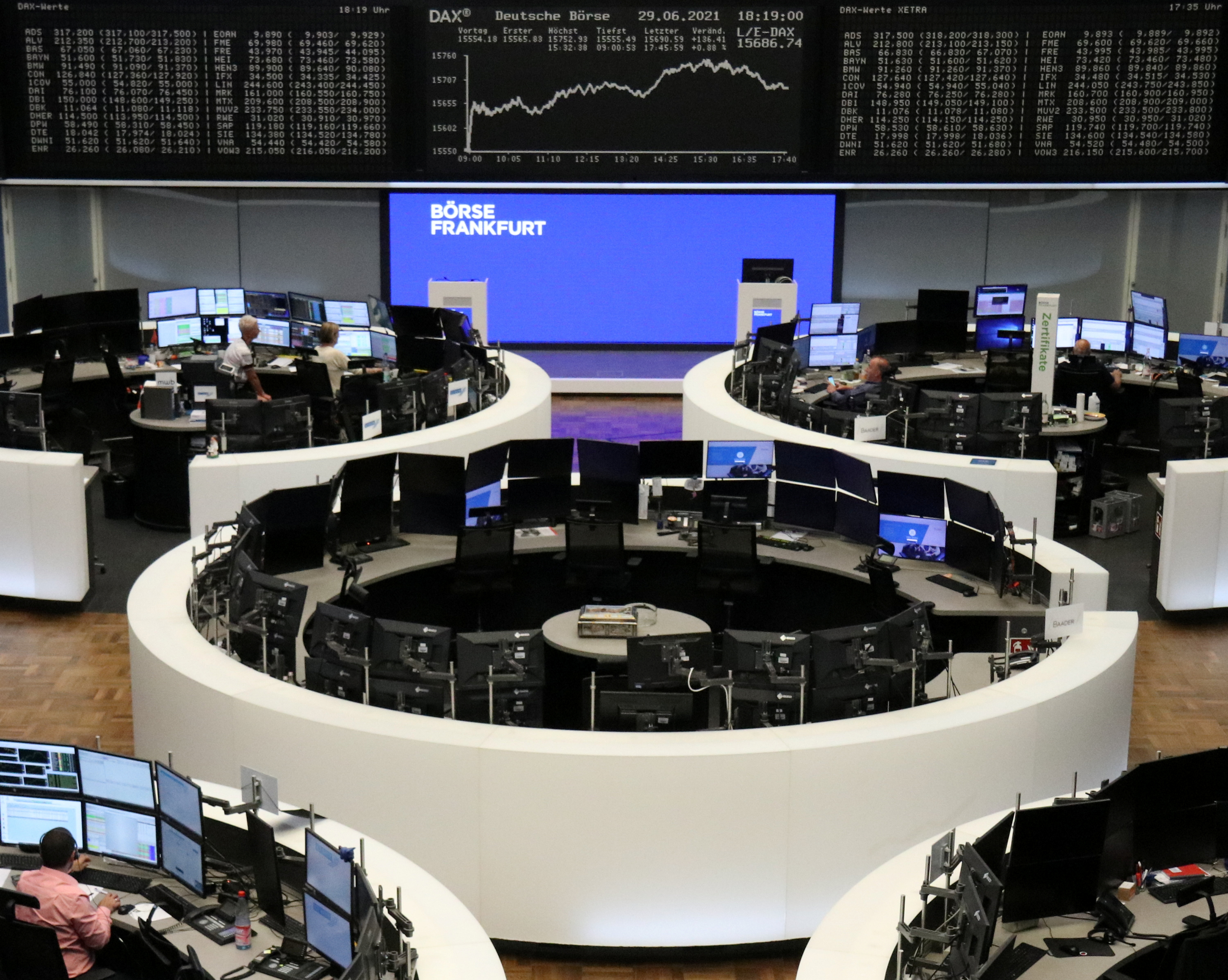 The German share price index DAX graph is pictured at the stock exchange in Frankfurt, Germany, June 29, 2021.    REUTERS/Staff