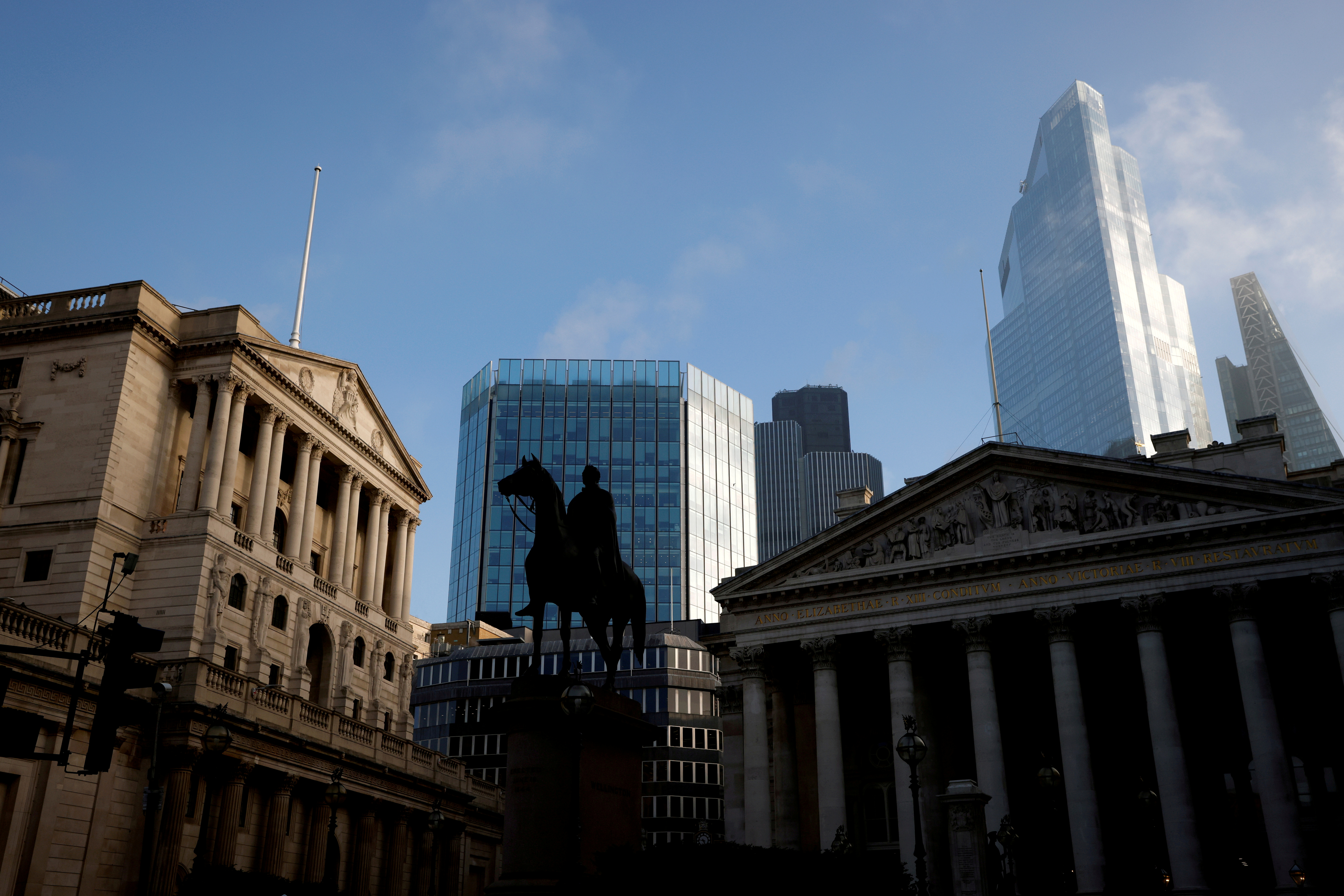 A general view shows The Bank of England and the City of London financial district in London, Britain, November 5, 2020. REUTERS/John Sibley/File Photo
