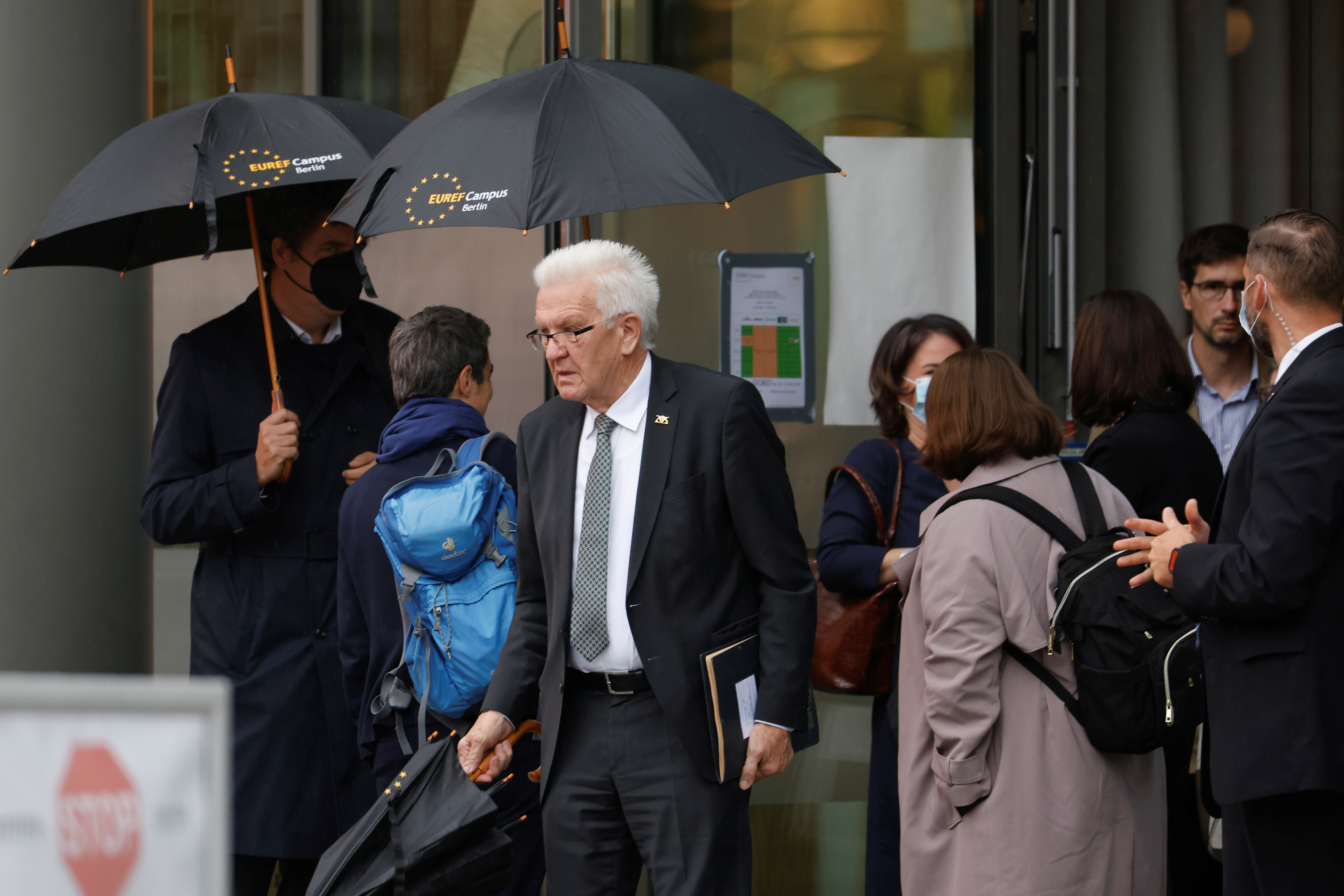 Winfried Kretschmann (The Greens), Minister President of Baden-Wuerttemberg, arrives to attend exploratory talks between the CDU, the CSU and the Greens for a possible new government coalition in Berlin, Germany, October 5, 2021. REUTERS/Michele Tantussi