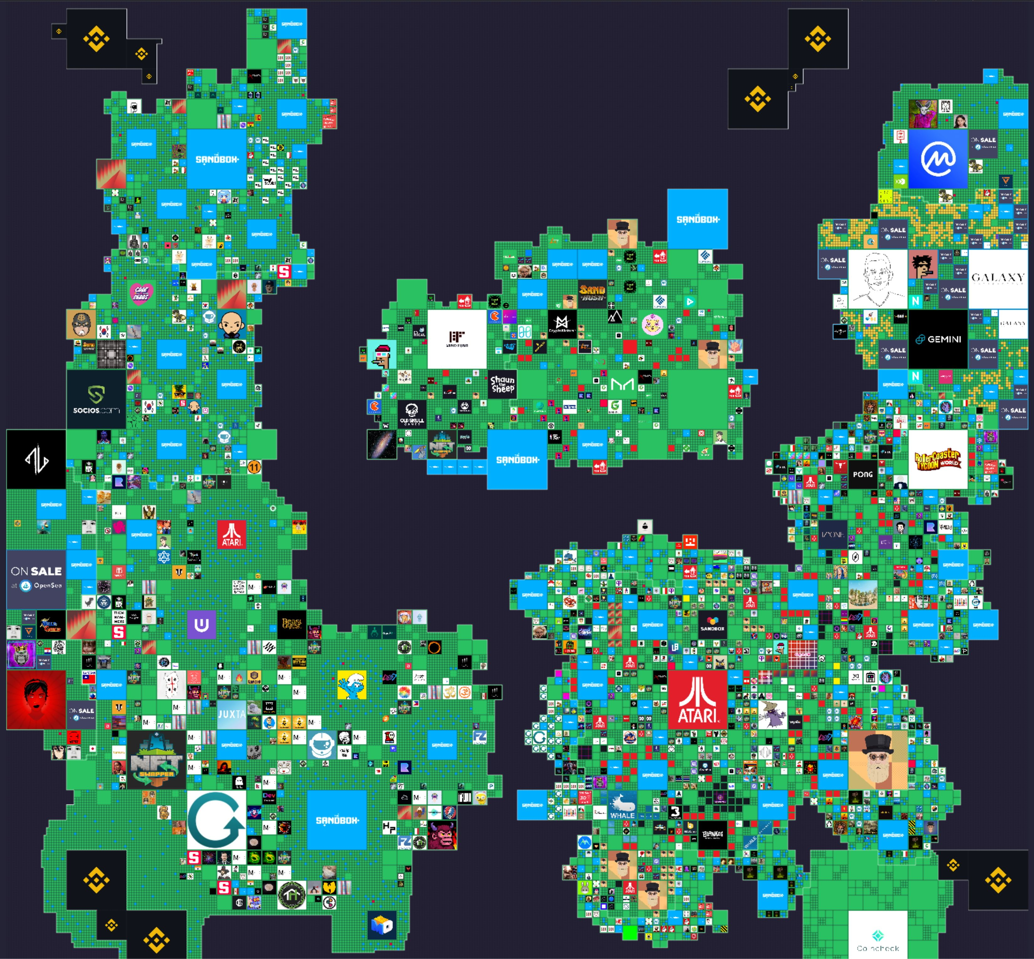 The map of the lands within The Sandbox gaming virtual world is seen in this handout image provided on April 16, 2021. The Sandbox/Handout via REUTERS   THIS IMAGE HAS BEEN SUPPLIED BY A THIRD PARTY. NO RESALES. NO ARCHIVES. MANDATORY CREDIT