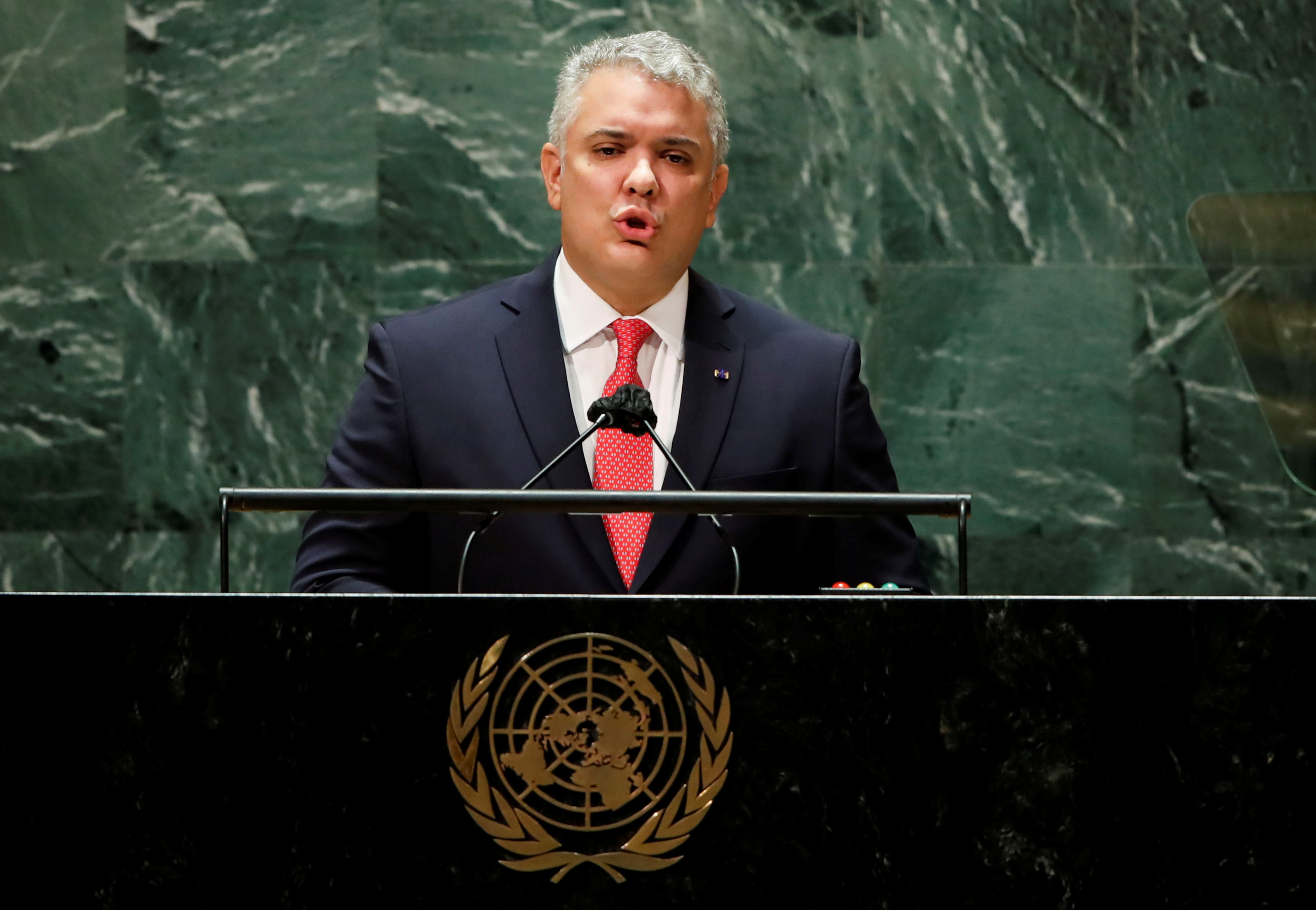 Colombia's President Ivan Duque addresses the 76th Session of the U.N. General Assembly in New York City, U.S., September 21, 2021.  REUTERS/Eduardo Munoz/Pool