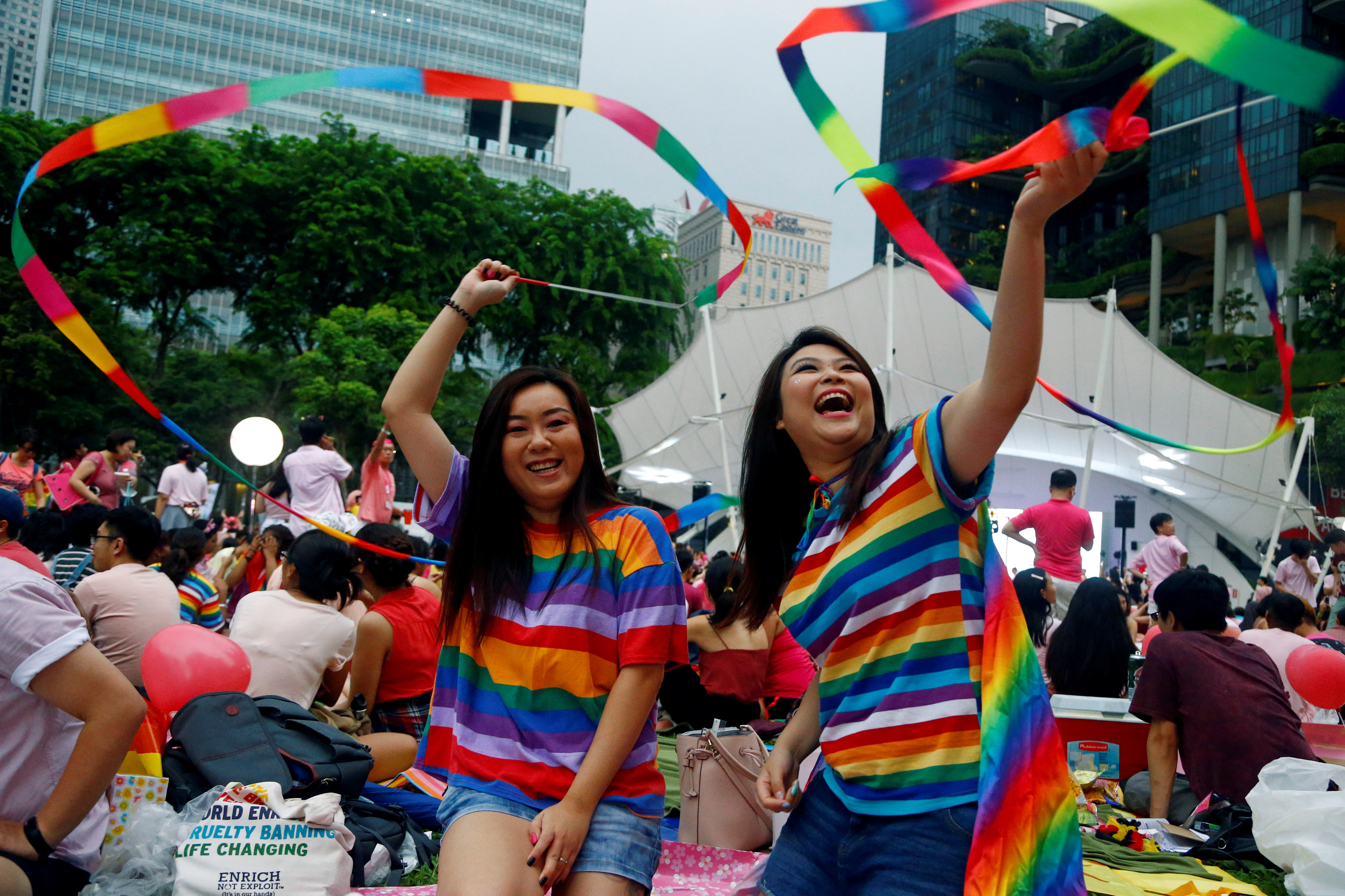 Participants of Pink Dot, an annual event organised in support of the LGBT community, pose for a photo at the Speakers' Corner in Hong Lim Park in Singapore, June 29, 2019. REUTERS/Feline Lim