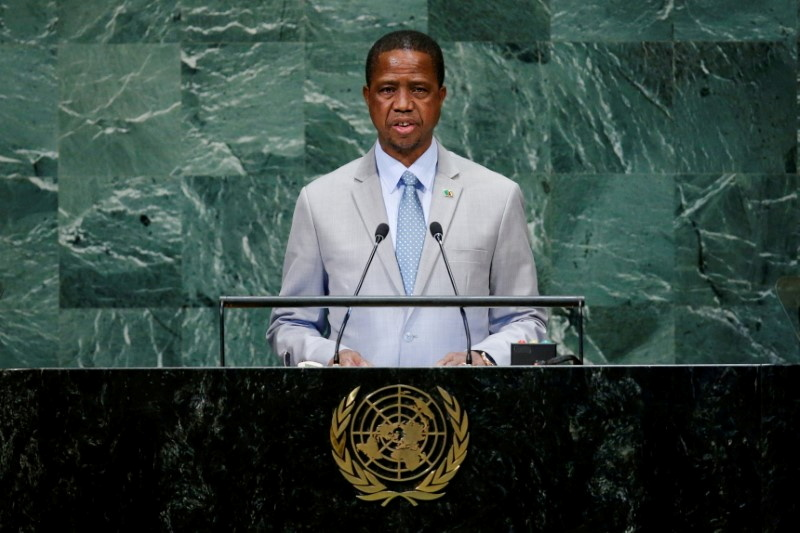 Zambia's President Edgar Chagwa Lungu addresses the 73rd session of the United Nations General Assembly at U.N. headquarters in New York, U.S., September 25, 2018. REUTERS/Eduardo Munoz/File Photo