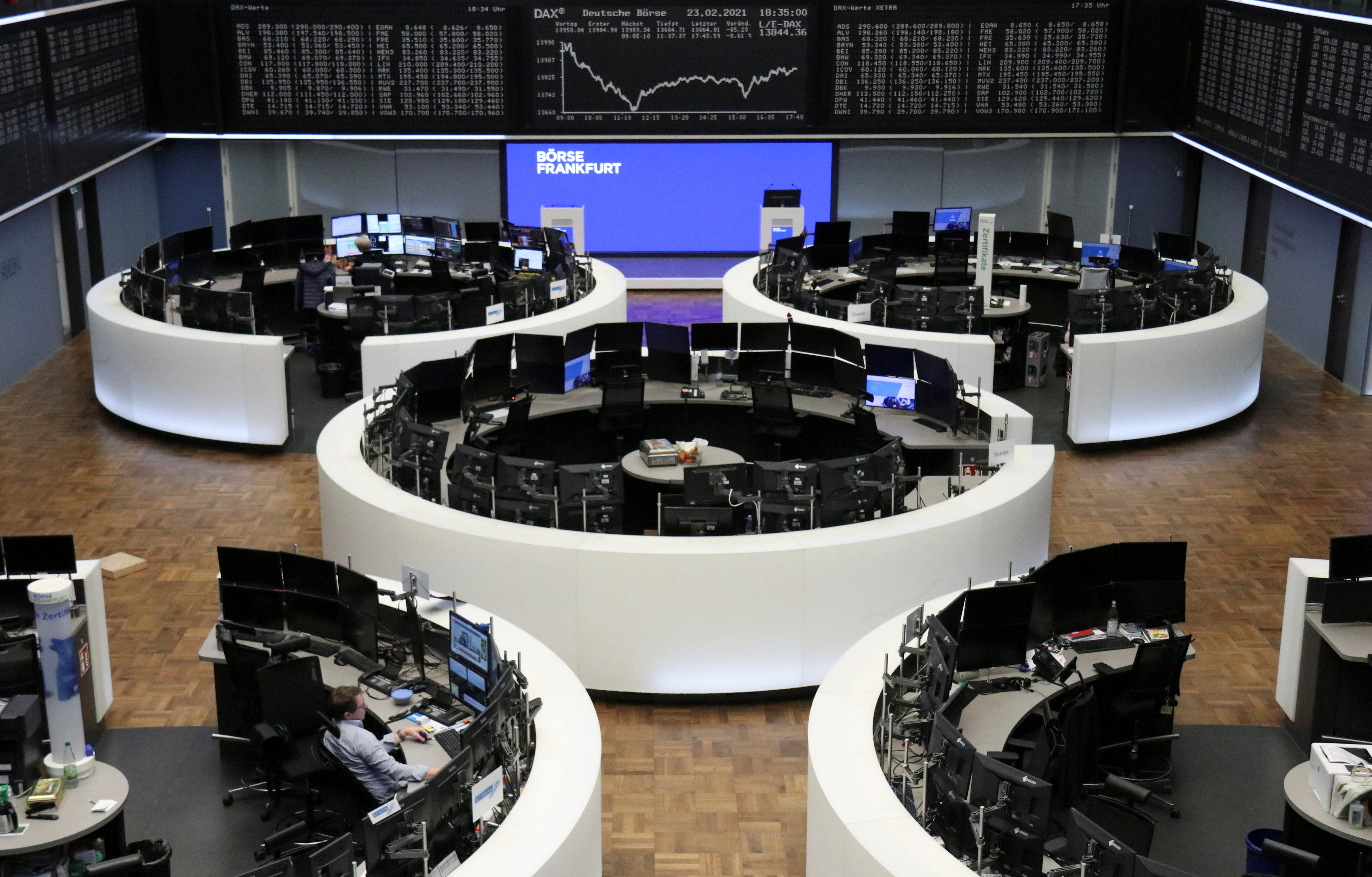 The German share price index DAX graph is pictured at the stock exchange in Frankfurt, Germany, February 23, 2021. REUTERS/Staff