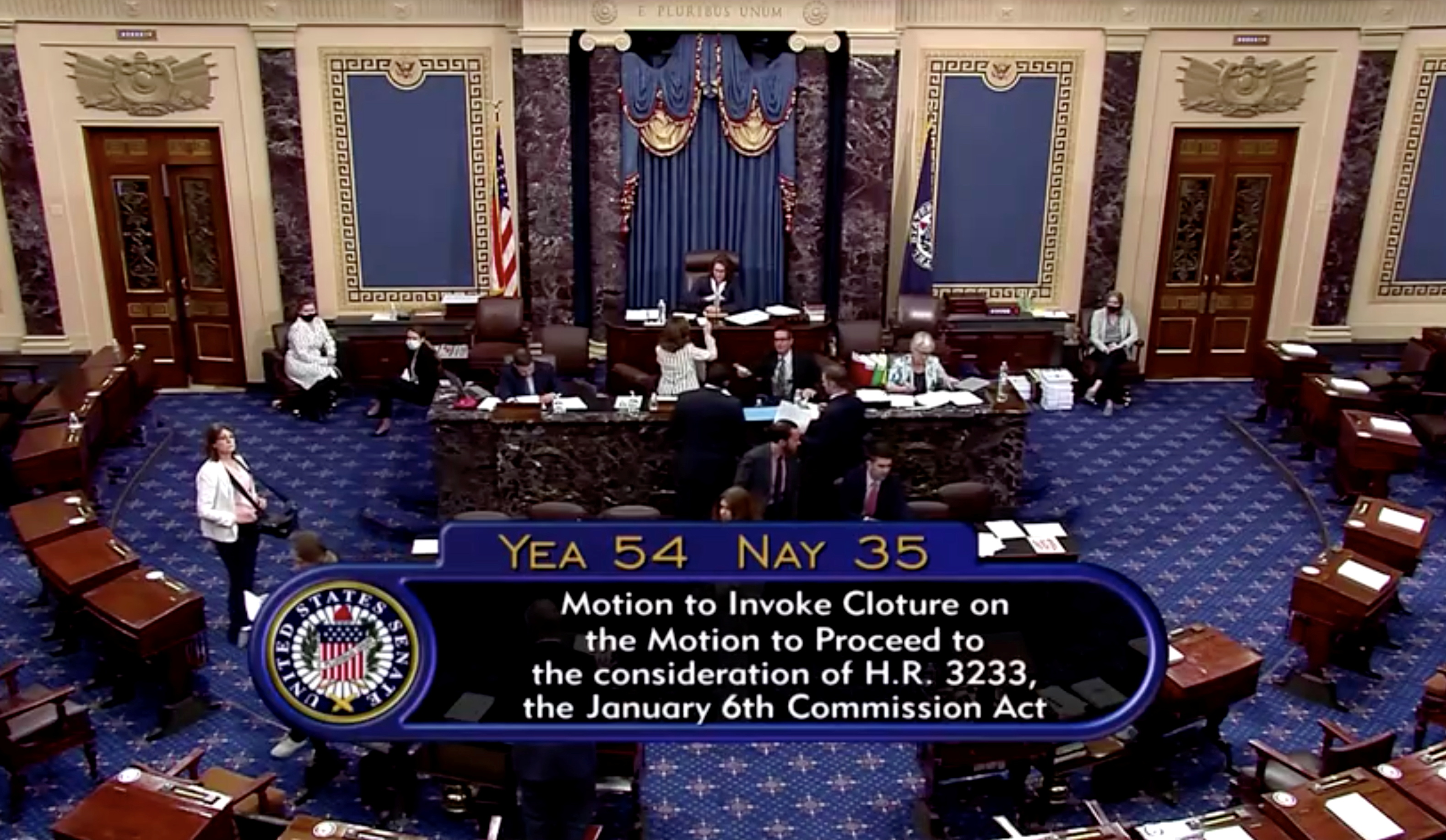 Legislation to create a bipartisan commission to investigate the January 6, 2021 assault on the Capitol by supporters of former President Donald Trump fails by a vote of 54-35 margin as Republicans in the Senate use their filibuster to block passage of the bill in this still image taken from a video shot in the Senate Chamber on Capitol Hill in Washington, May 28, 2021. U.S. Senate TV via REUTERS