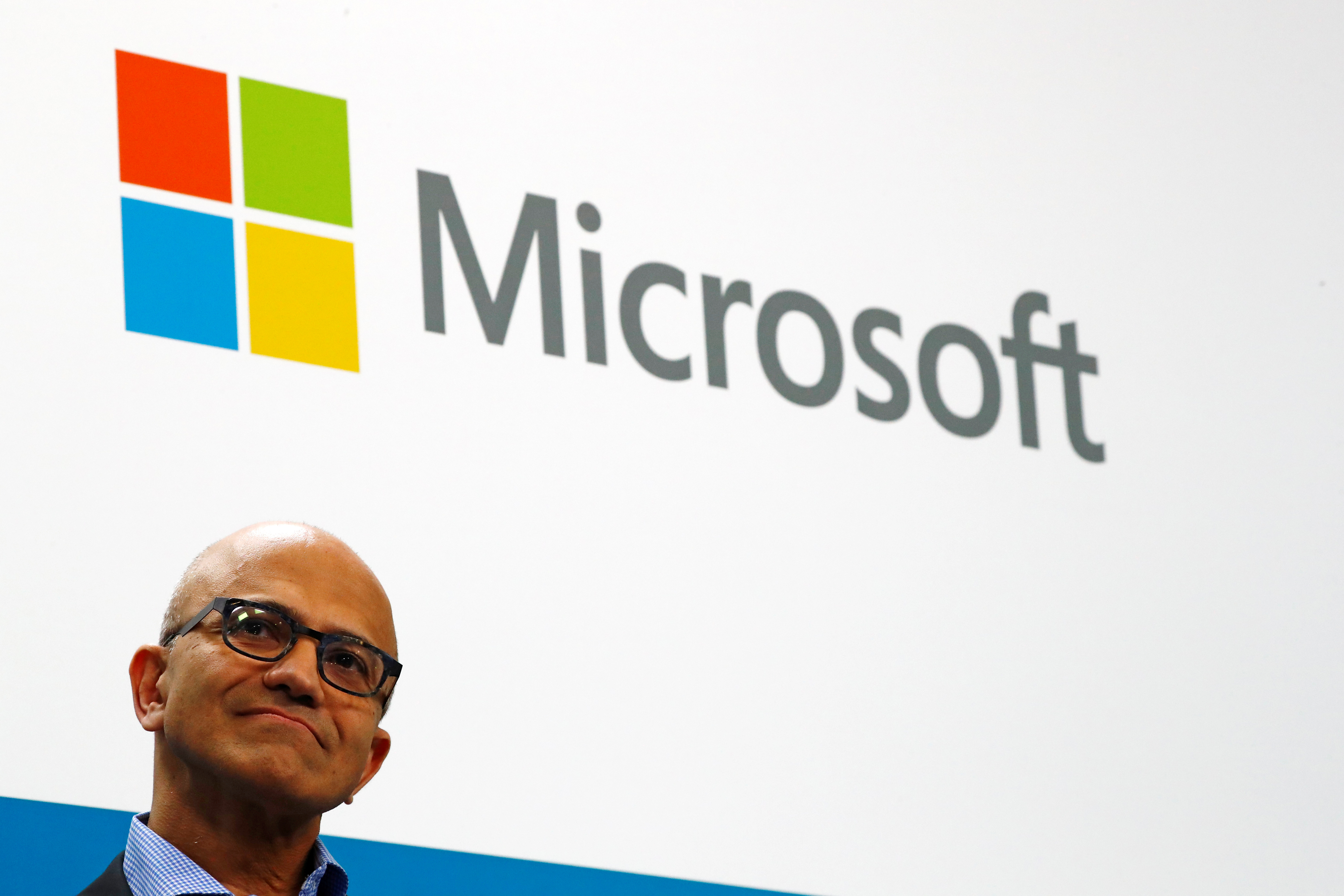 Microsoft CEO Satya Nadella addresses a news conference in Berlin, Germany February 27, 2019. REUTERS/Fabrizio Bensch