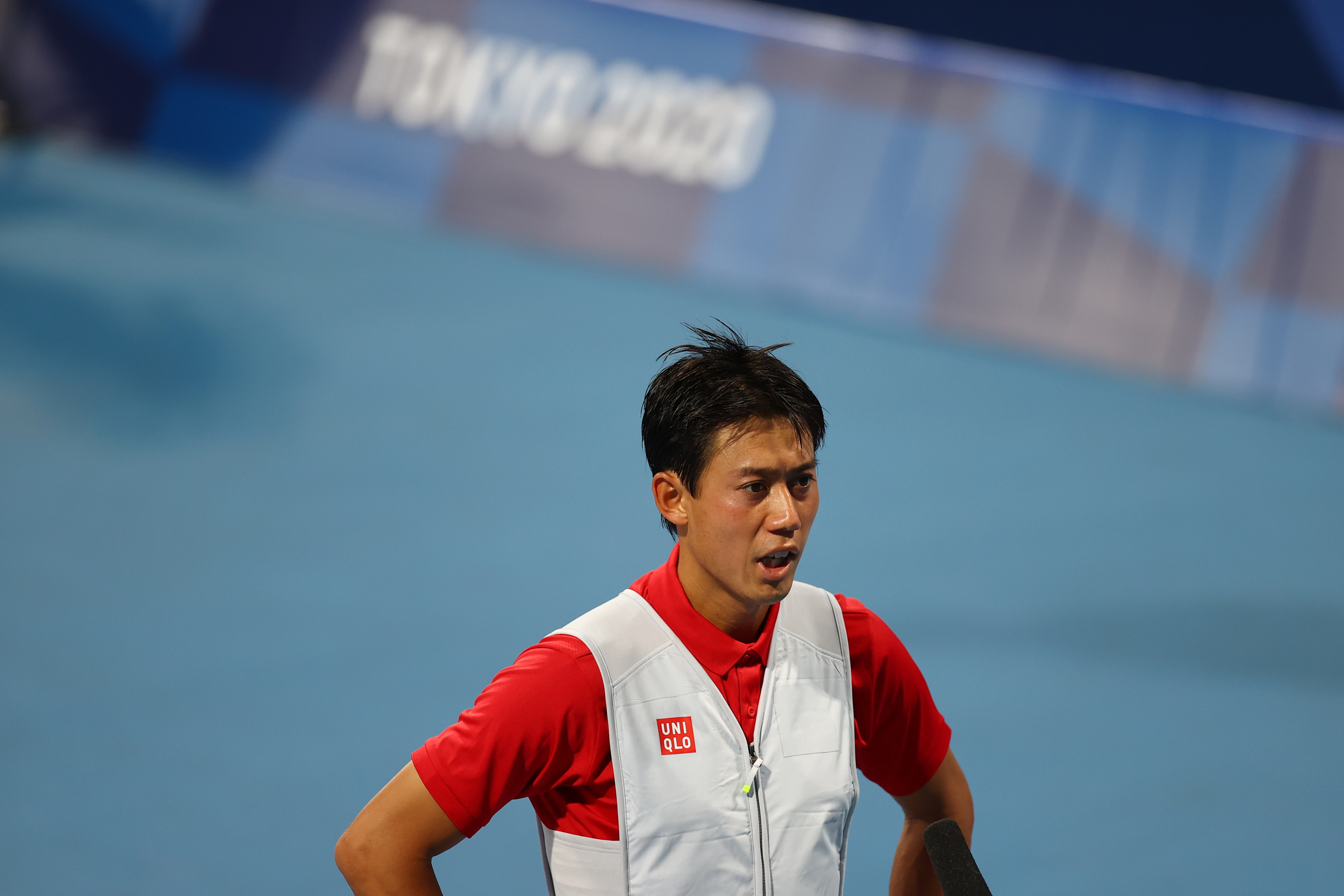 Tokyo 2020 Olympics - Tennis - Men's Singles - Round 1 - Ariake Tennis Park - Tokyo, Japan - July 25, 2021. Kei Nishikori of Japan talks to media after winning his first round match against Andrey Rublev of the Russian Olympic Committee REUTERS/Edgar Su