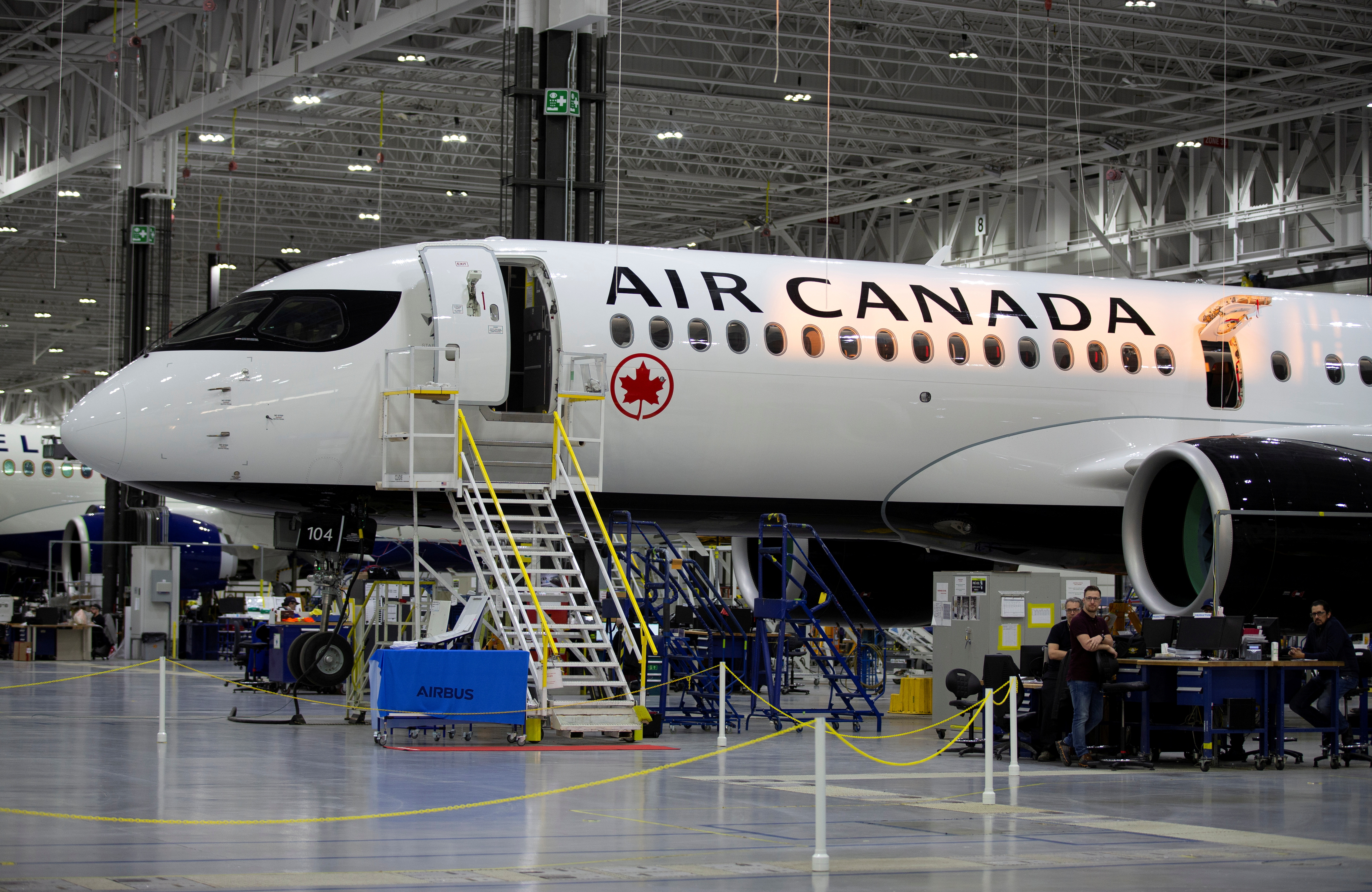 An Airbus A220-300 is seen at the Airbus facility in Mirabel, Quebec, Canada February 20, 2020.  REUTERS/Christinne Muschi